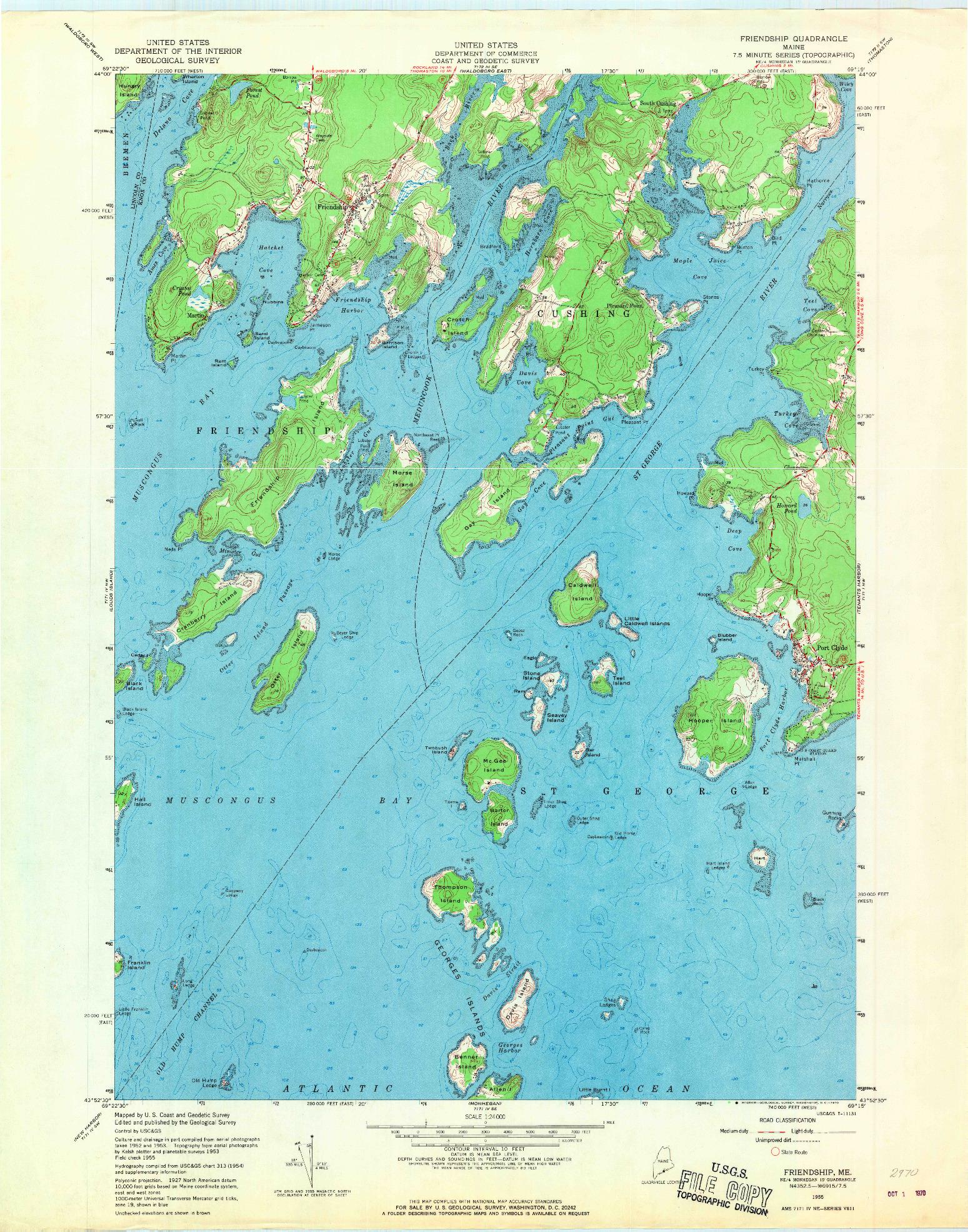 USGS 1:24000-SCALE QUADRANGLE FOR FRIENDSHIP, ME 1955