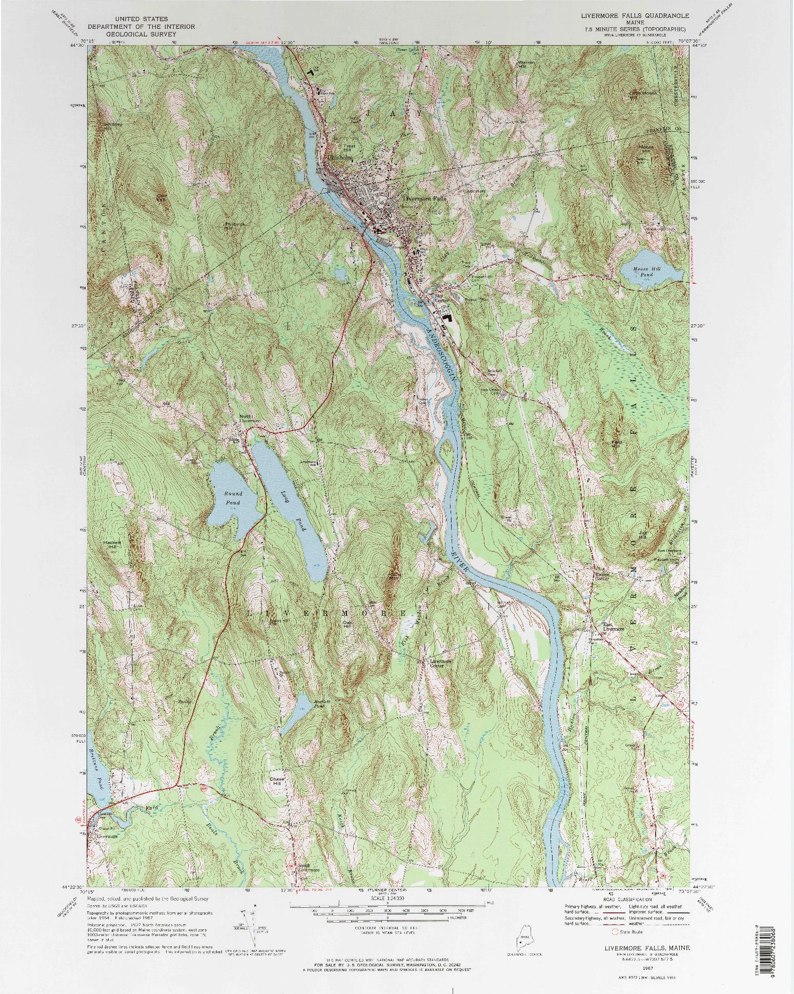 USGS 1:24000-SCALE QUADRANGLE FOR LIVERMORE FALLS, ME 1967