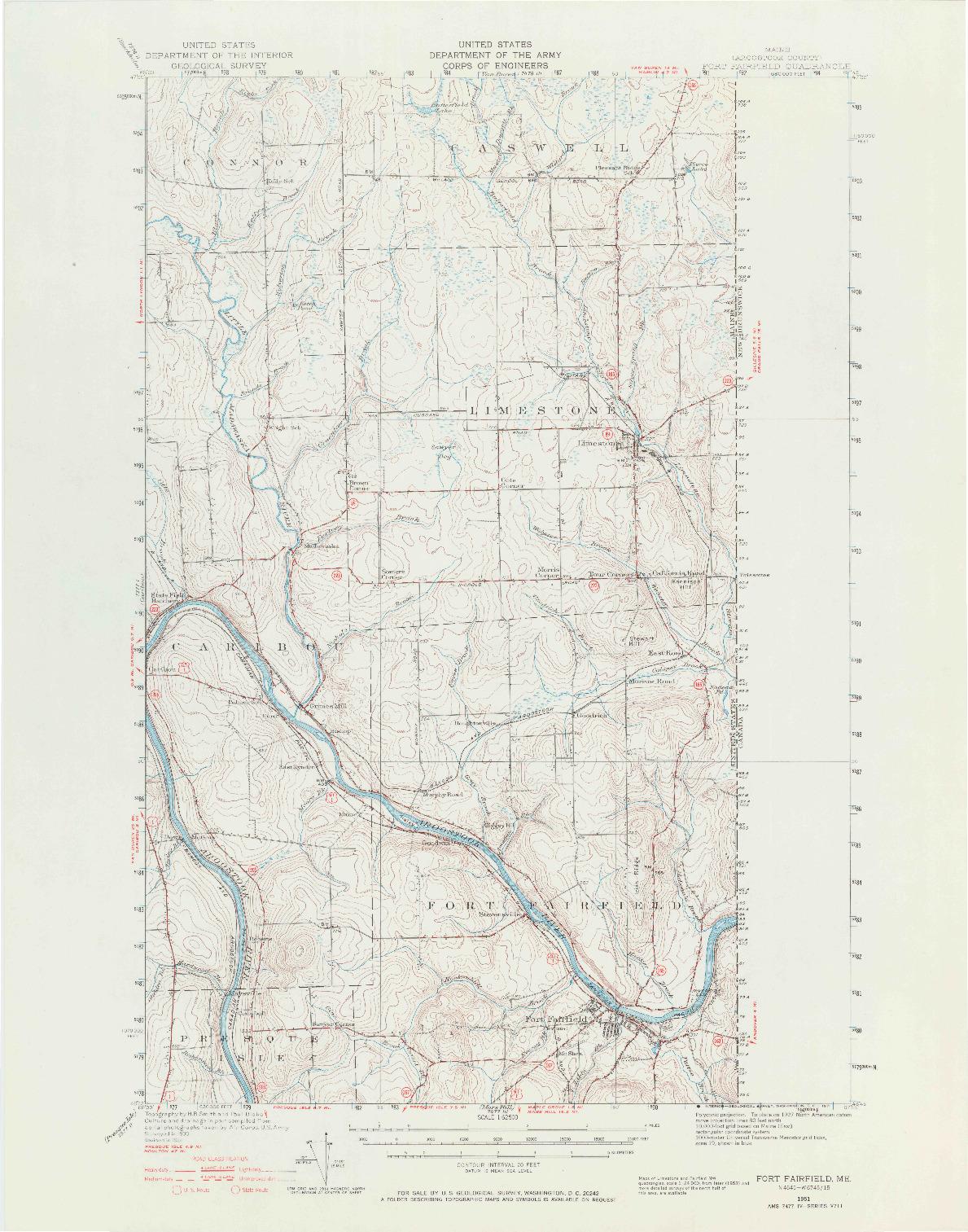USGS 1:62500-SCALE QUADRANGLE FOR FORT FAIRFIELD, ME 1951