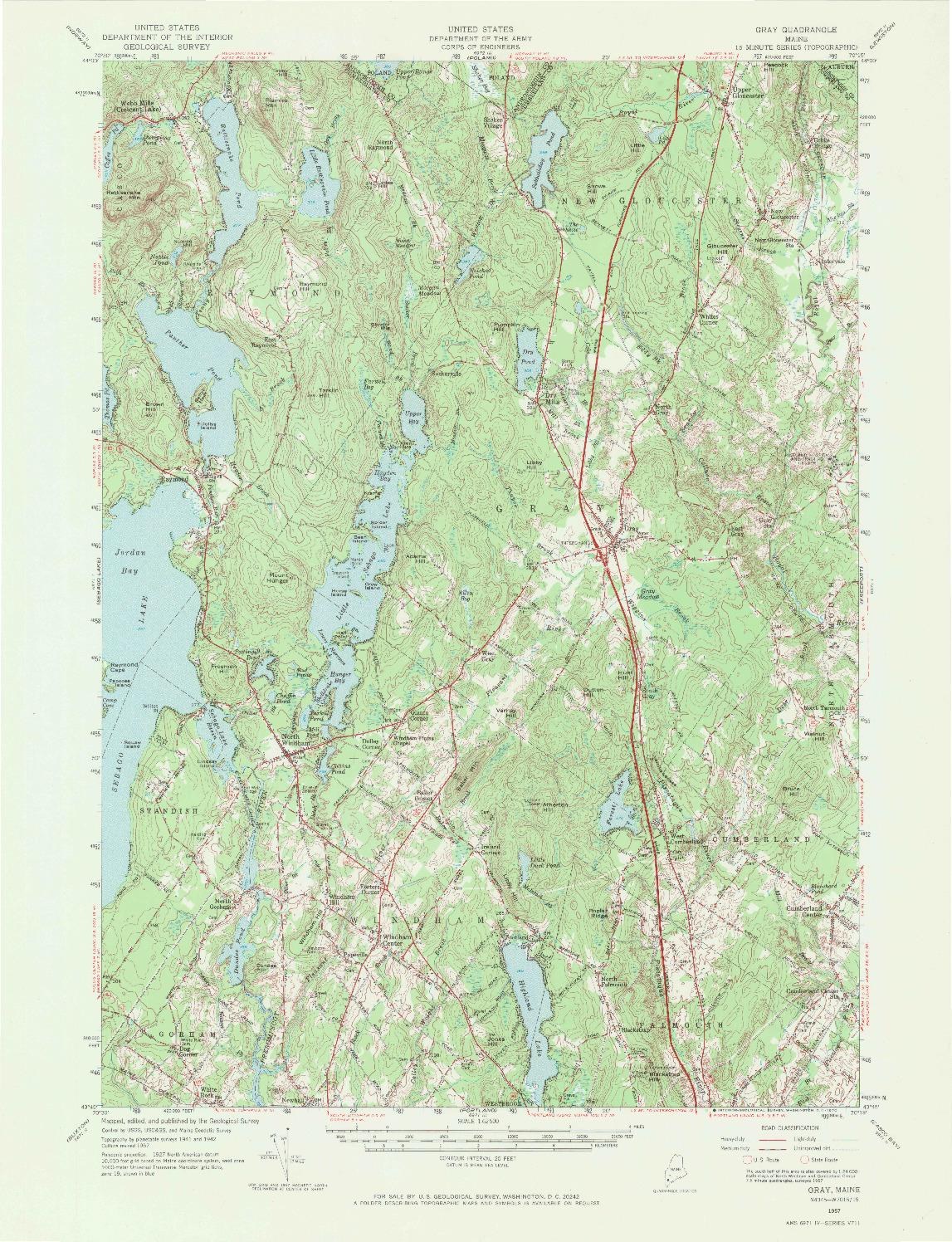 USGS 1:62500-SCALE QUADRANGLE FOR GRAY, ME 1957