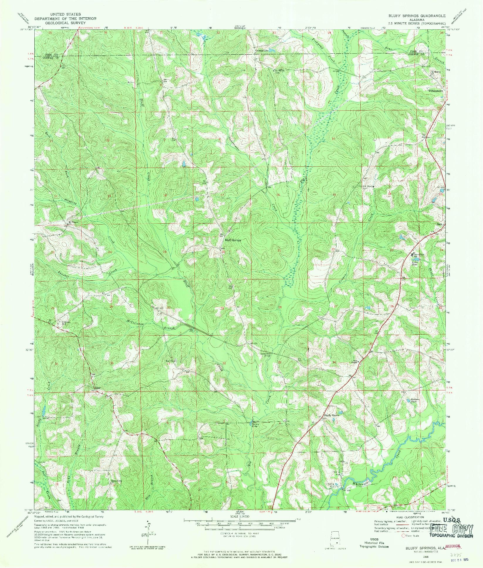 USGS 1:24000-SCALE QUADRANGLE FOR BLUFF SPRINGS, AL 1968