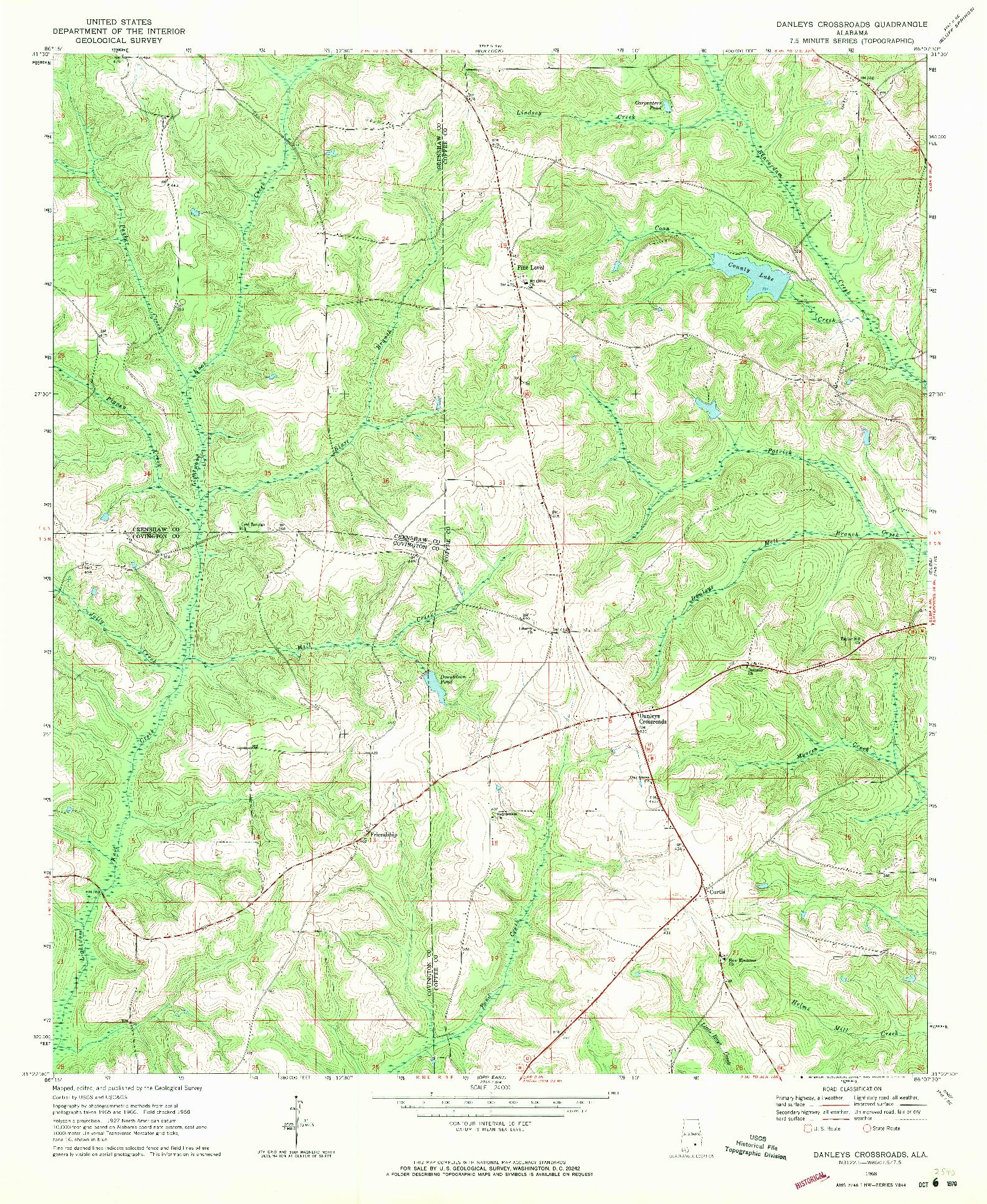 USGS 1:24000-SCALE QUADRANGLE FOR DANLEYS CROSSROADS, AL 1968