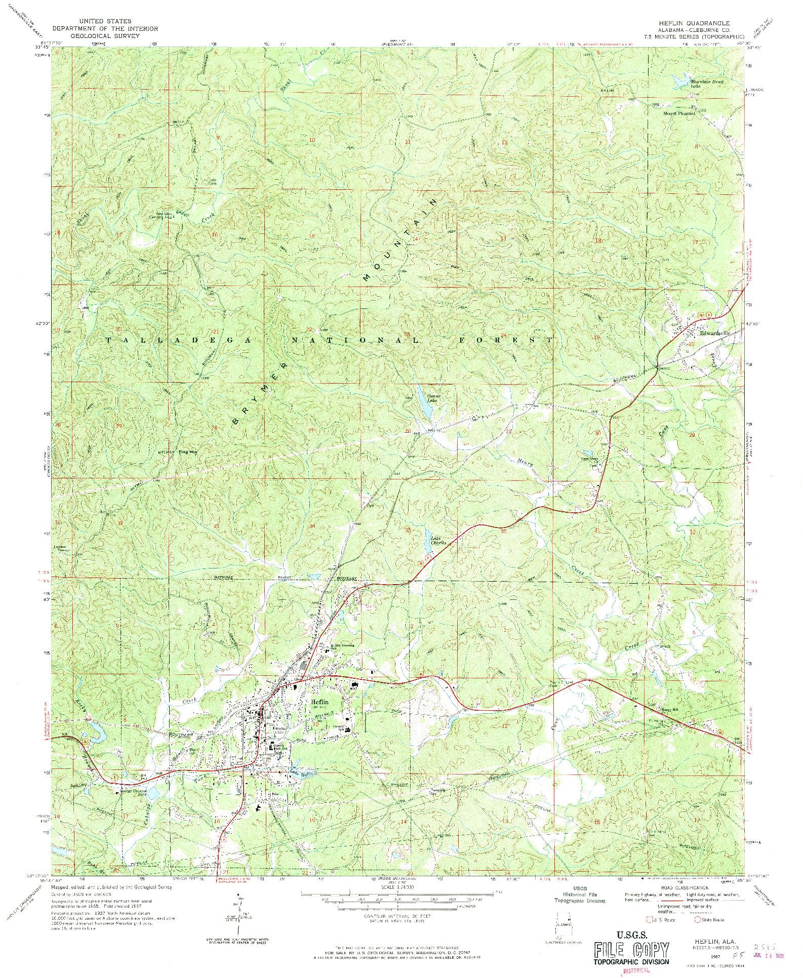 USGS 1:24000-SCALE QUADRANGLE FOR HEFLIN, AL 1967