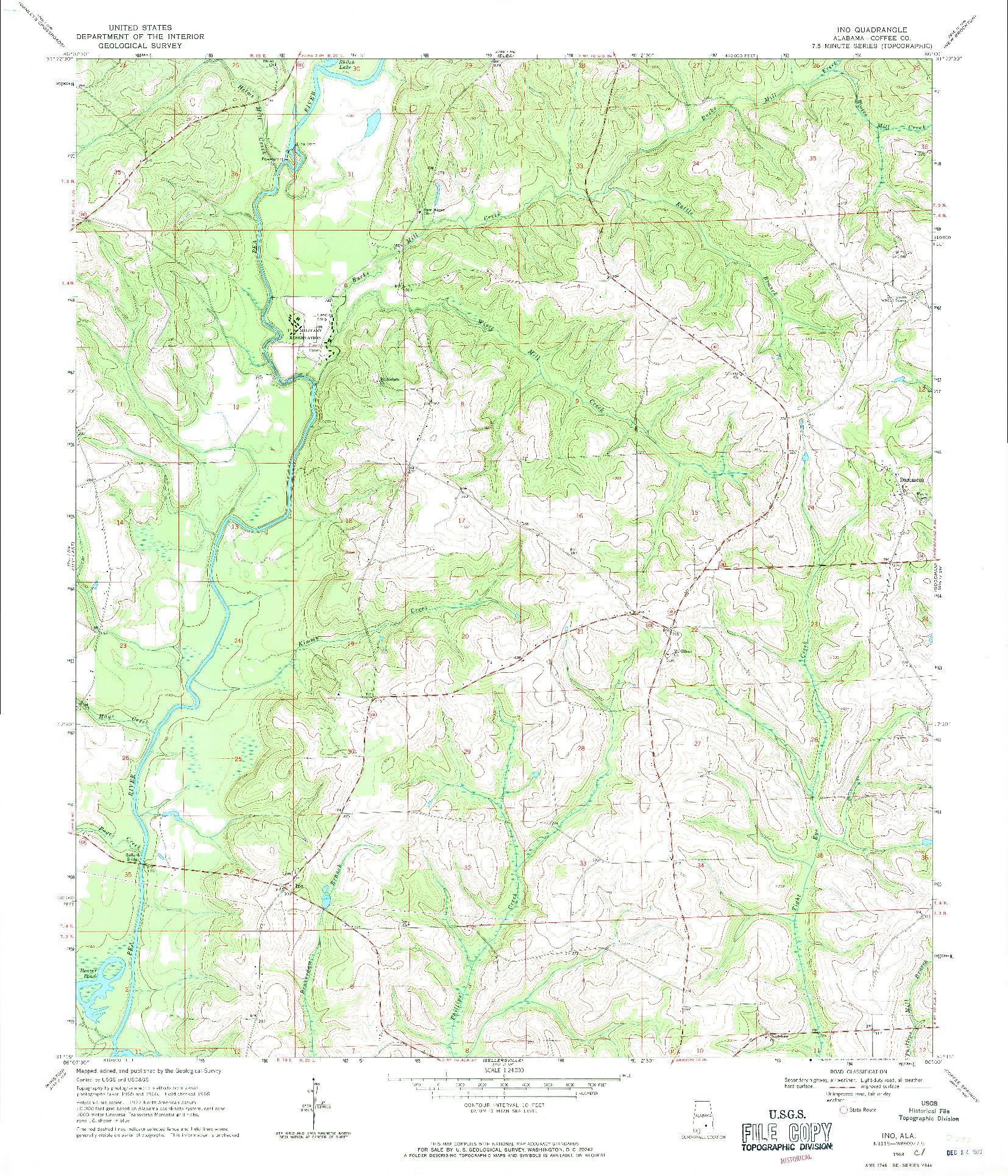 USGS 1:24000-SCALE QUADRANGLE FOR INO, AL 1968