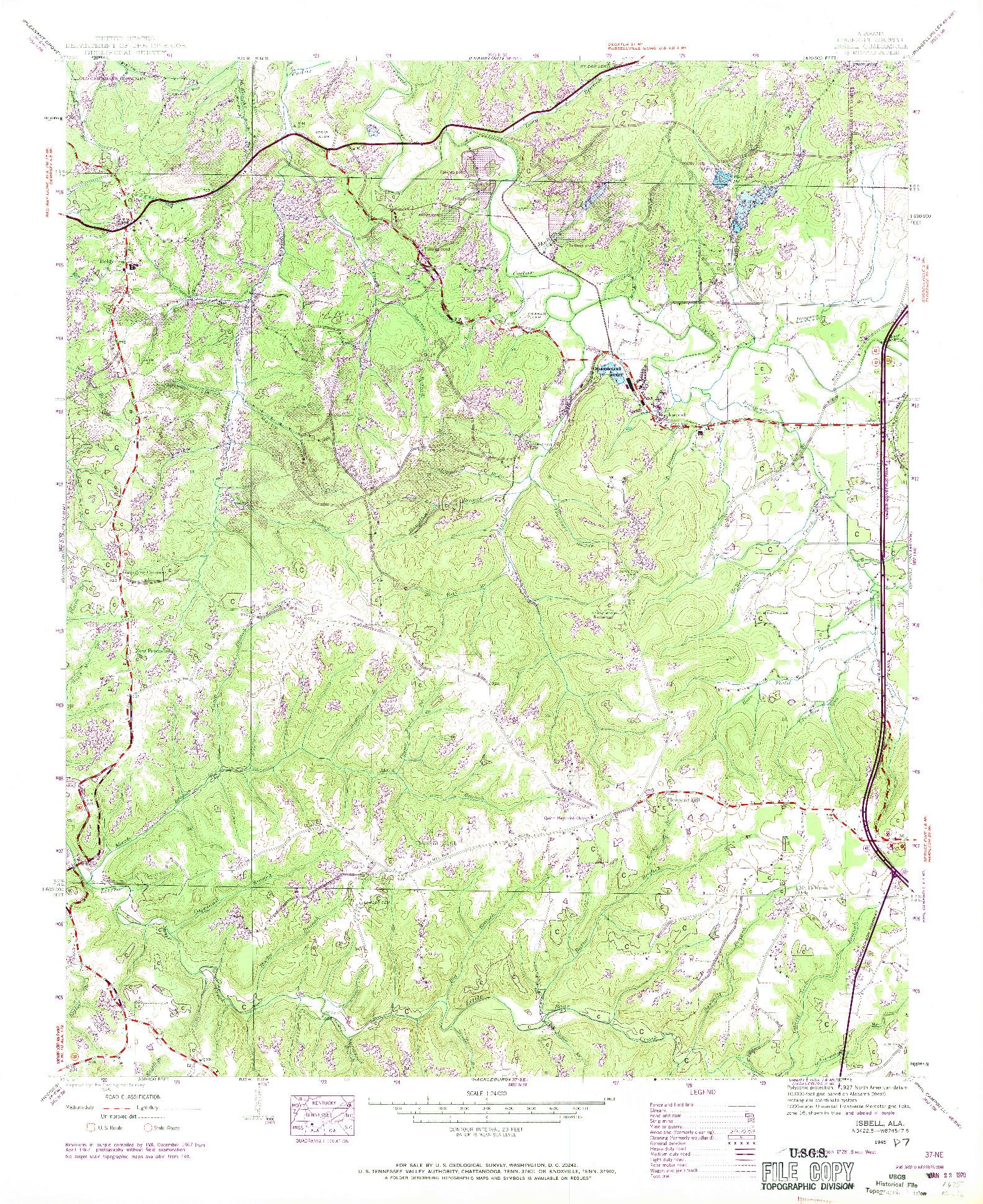 USGS 1:24000-SCALE QUADRANGLE FOR ISBELL, AL 1945
