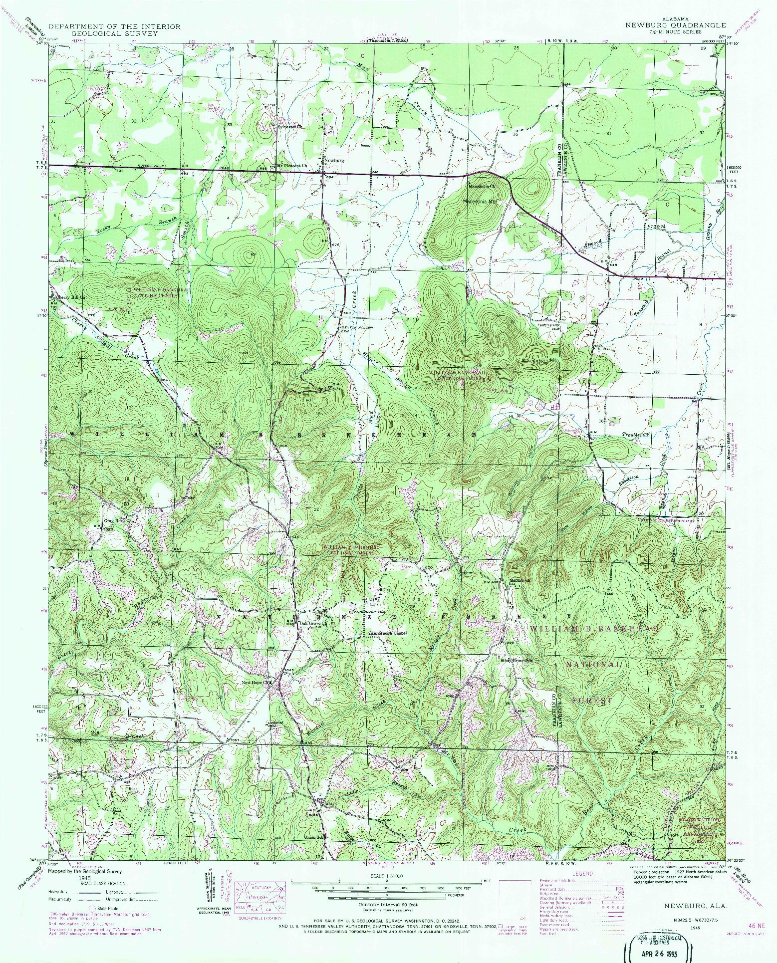 USGS 1:24000-SCALE QUADRANGLE FOR NEWBURG, AL 1945
