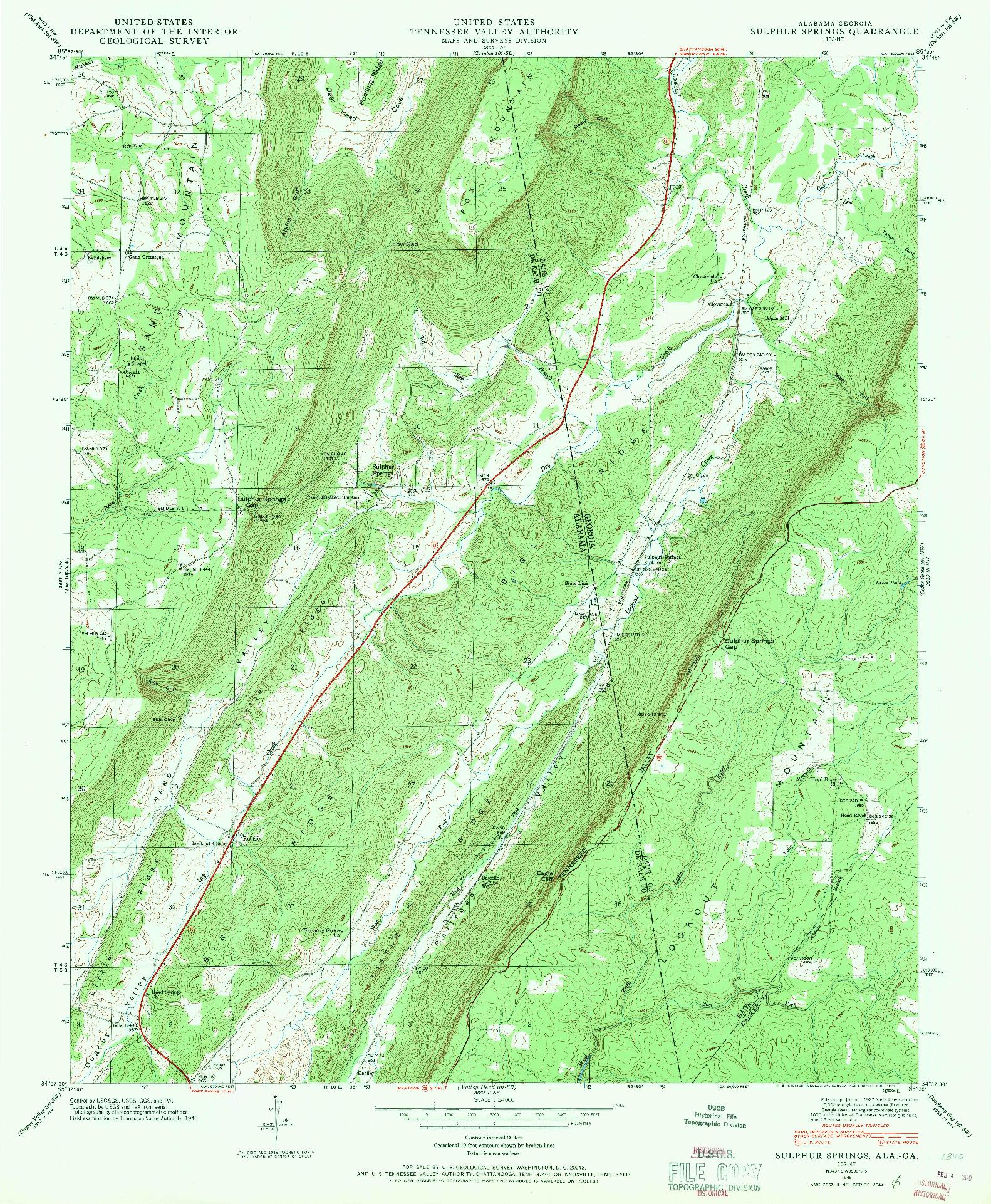 USGS 1:24000-SCALE QUADRANGLE FOR SULPHUR SPRINGS, AL 1946