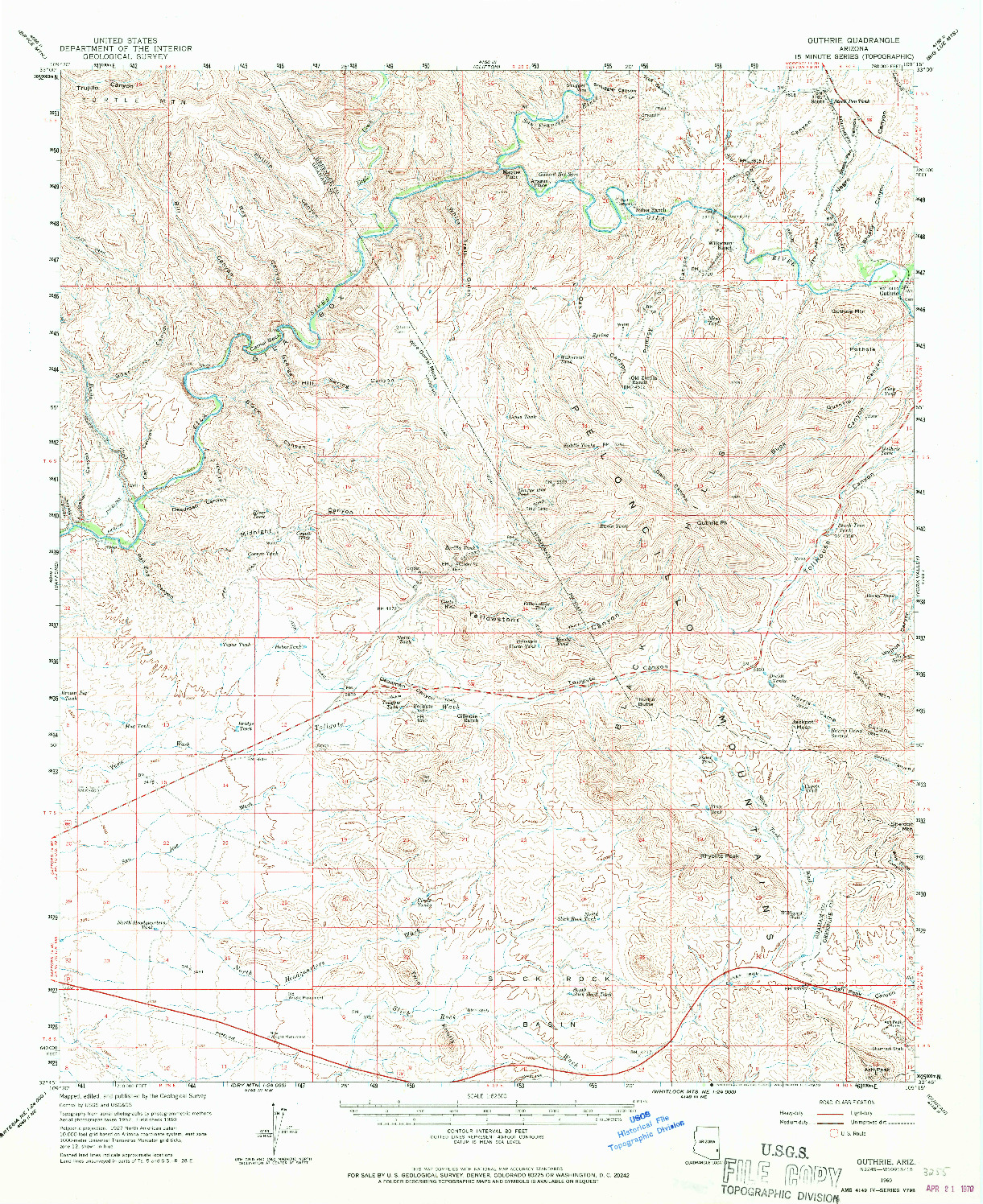 USGS 1:62500-SCALE QUADRANGLE FOR GUTHRIE, AZ 1960