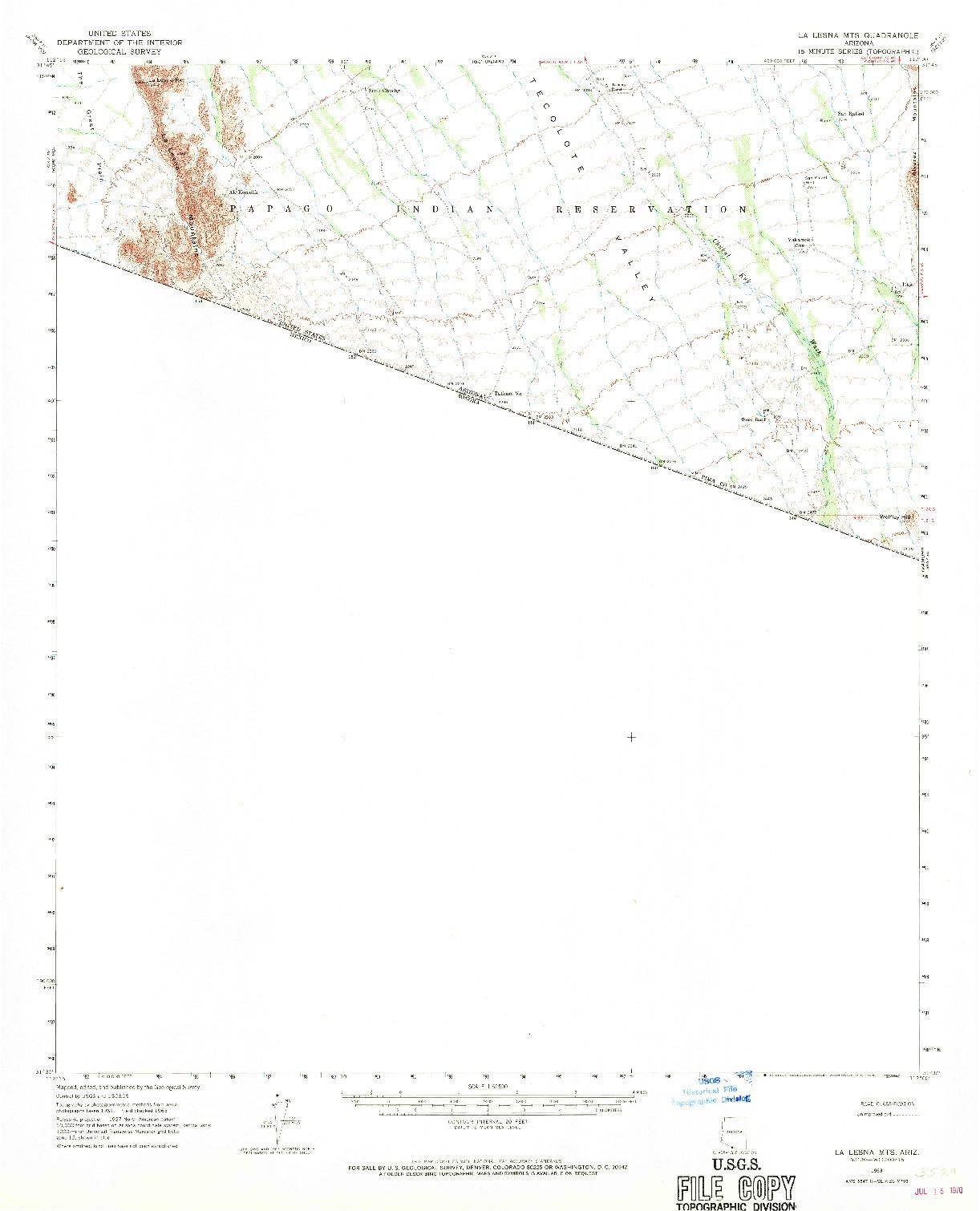 USGS 1:62500-SCALE QUADRANGLE FOR LA LESNA MTS., AZ 1963
