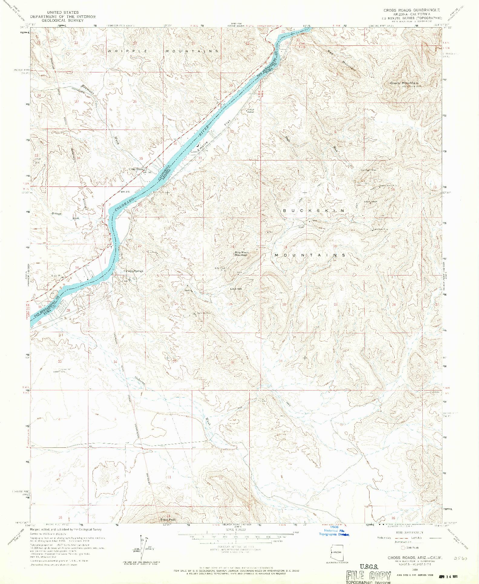 USGS 1:24000-SCALE QUADRANGLE FOR CROSS ROADS, AZ 1959