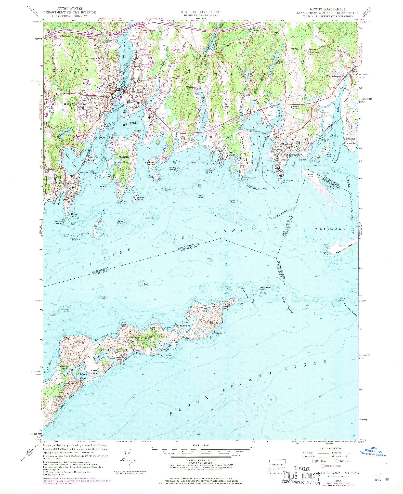 USGS 1:24000-SCALE QUADRANGLE FOR MYSTIC, CT 1958