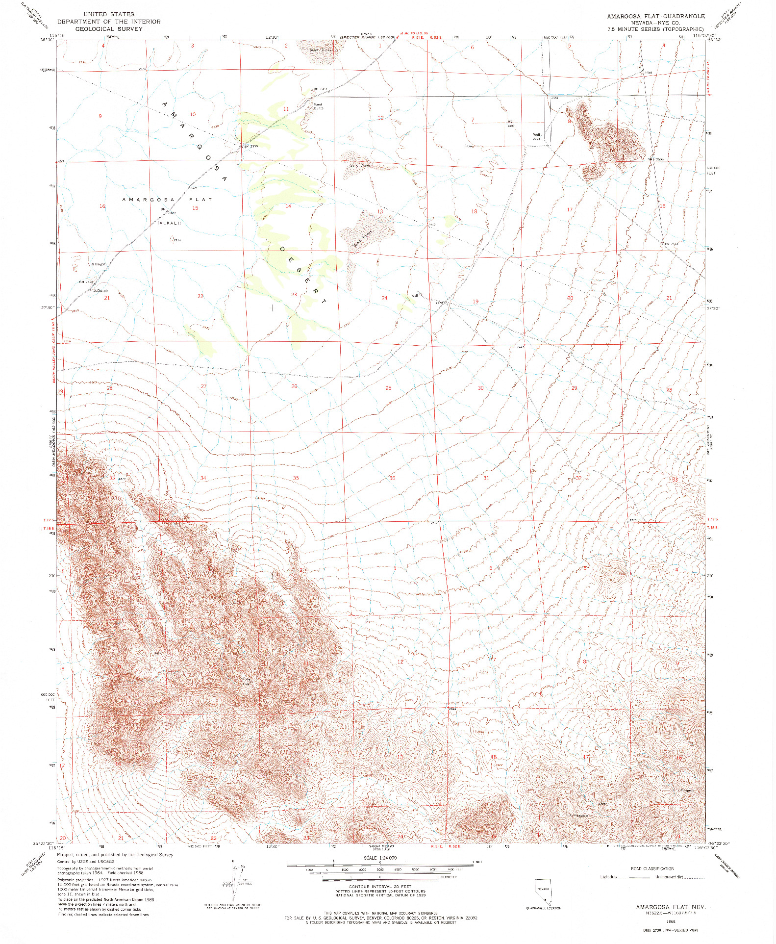 USGS 1:24000-SCALE QUADRANGLE FOR AMARGOSA FLAT, NV 1968