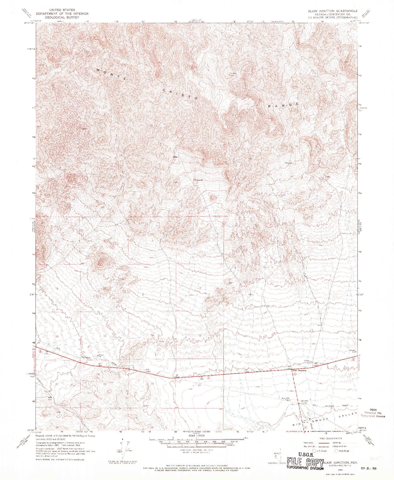 USGS 1:24000-SCALE QUADRANGLE FOR BLAIR JUNCTION, NV 1968