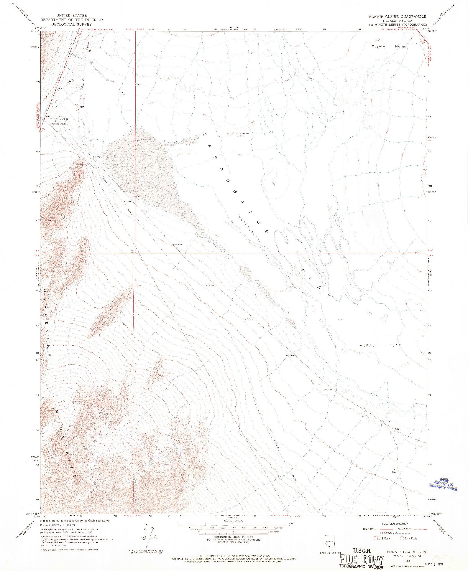 USGS 1:24000-SCALE QUADRANGLE FOR BONNIE CLAIRE, NV 1968