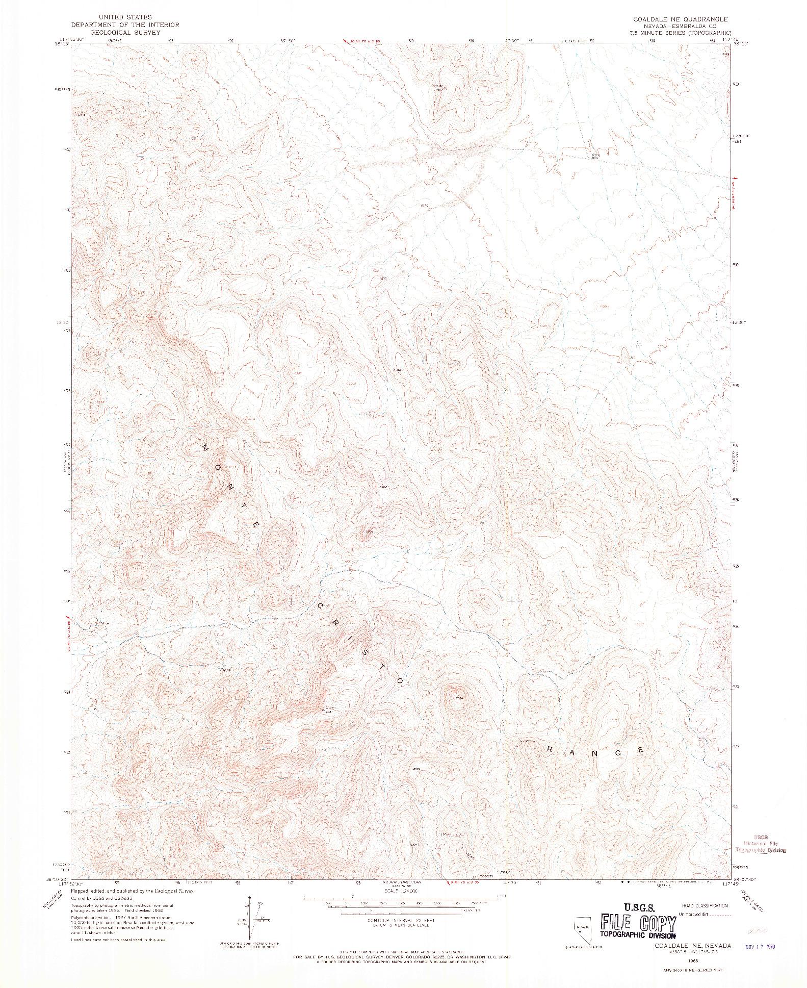 USGS 1:24000-SCALE QUADRANGLE FOR COALDALE NE, NV 1968