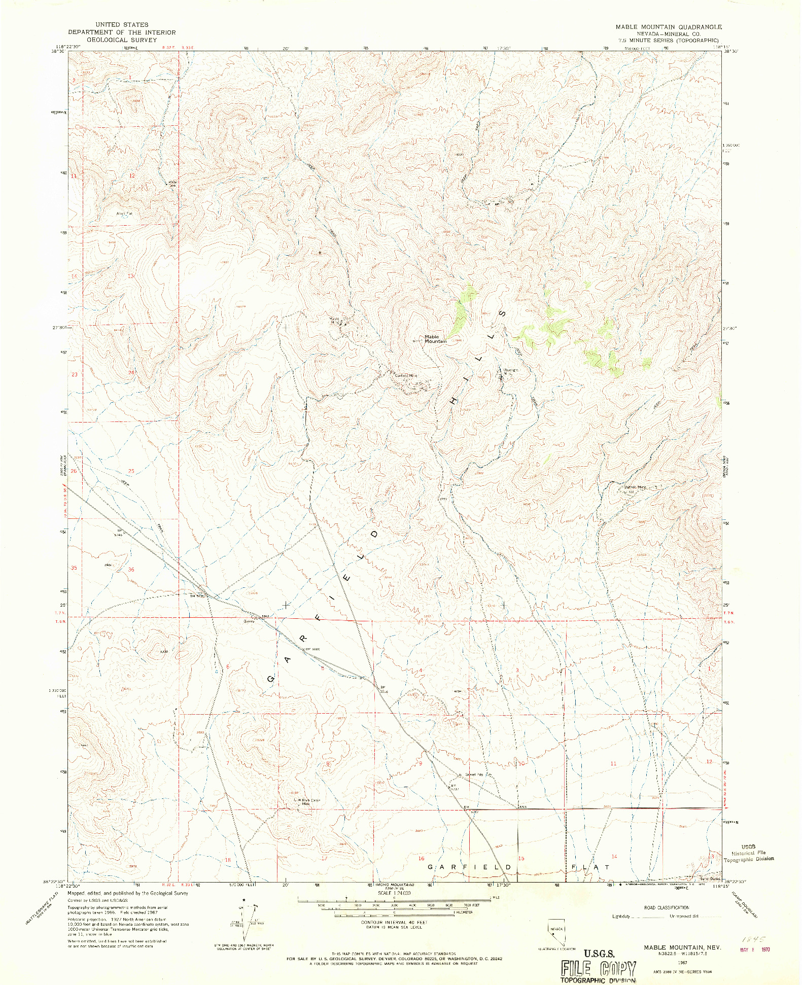 USGS 1:24000-SCALE QUADRANGLE FOR MABLE MOUNTAIN, NV 1967