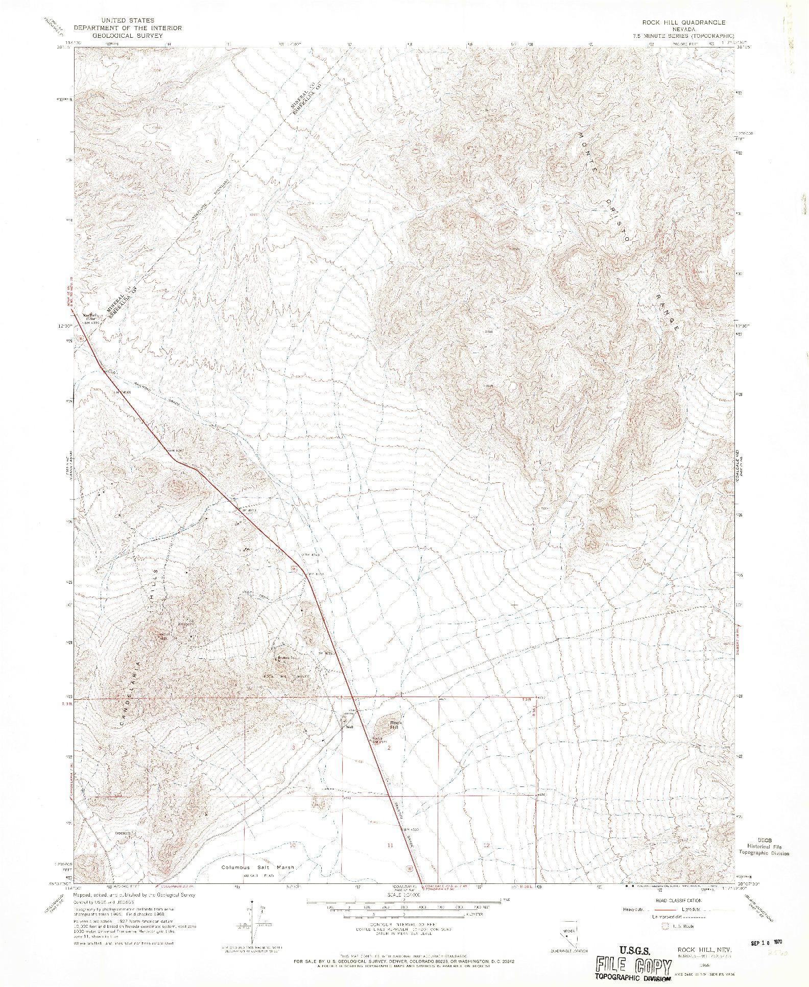USGS 1:24000-SCALE QUADRANGLE FOR ROCK HILL, NV 1968