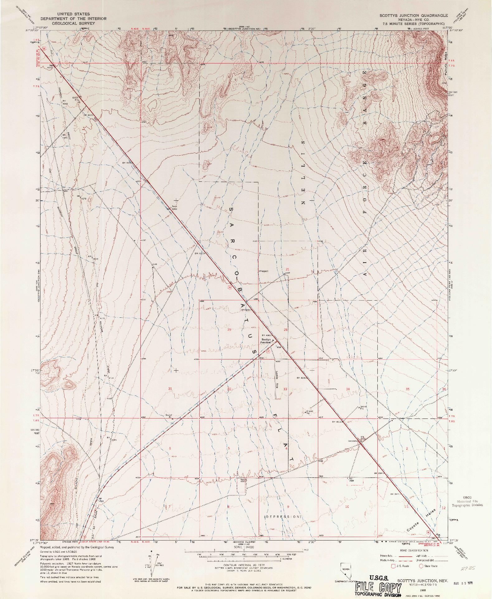 USGS 1:24000-SCALE QUADRANGLE FOR SCOTTYS JUNCTION, NV 1968