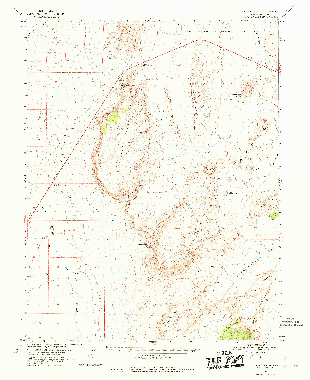 USGS 1:62500-SCALE QUADRANGLE FOR LUNAR CRATER, NV 1967