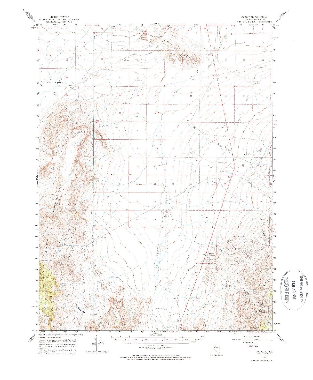 USGS 1:62500-SCALE QUADRANGLE FOR MC COY, NV 1961