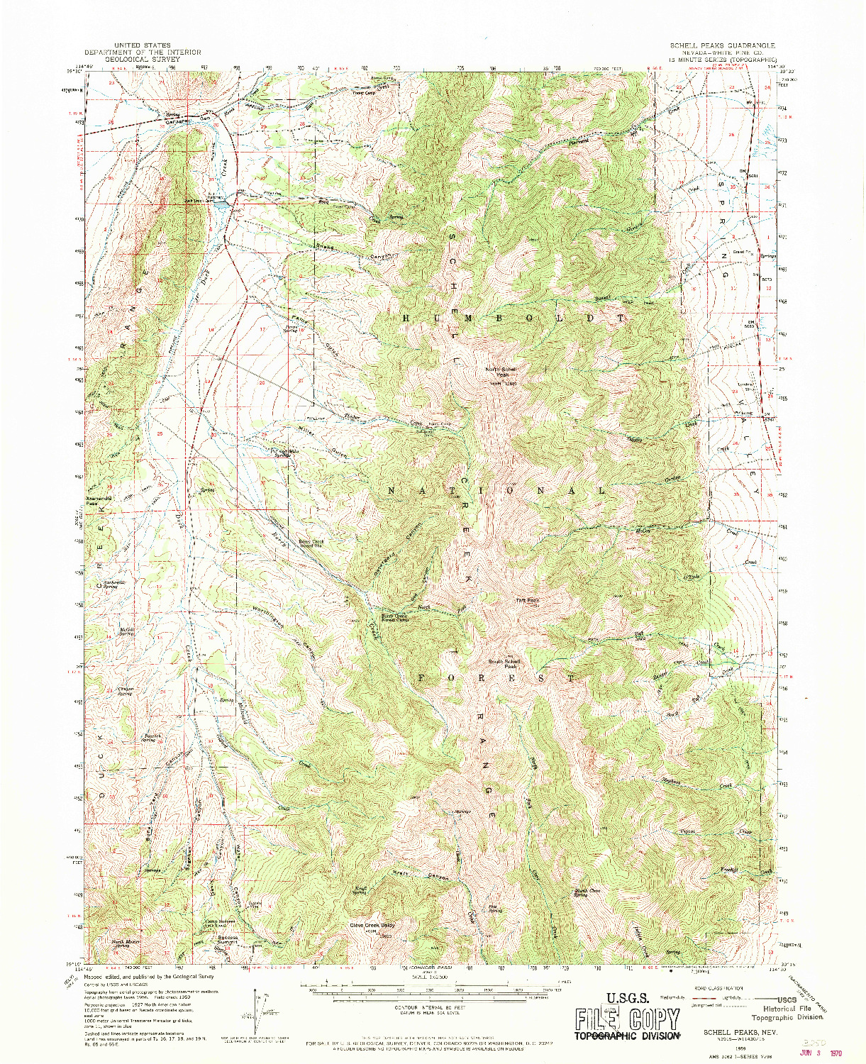 USGS 1:62500-SCALE QUADRANGLE FOR SCHELL PEAKS, NV 1959