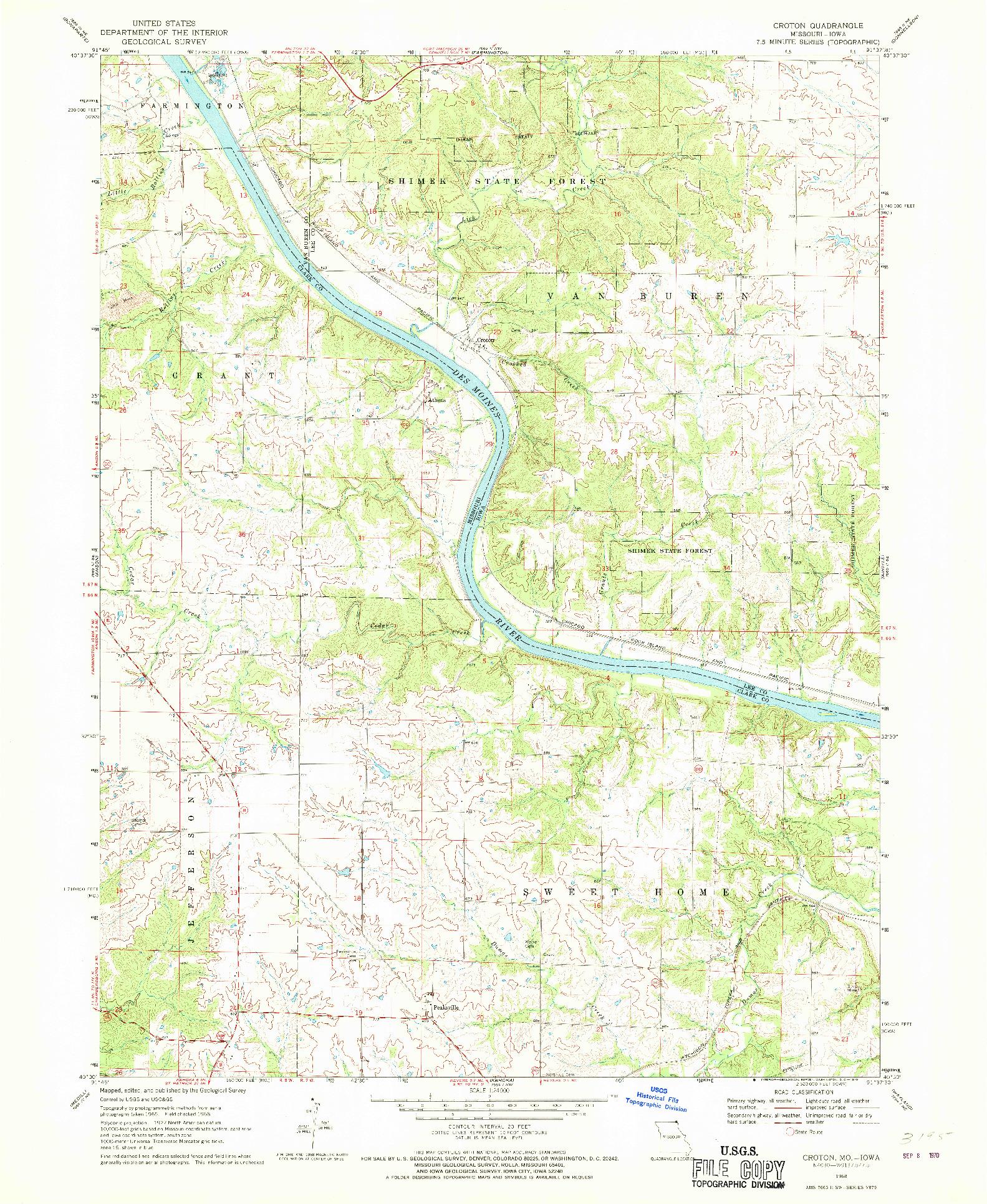USGS 1:24000-SCALE QUADRANGLE FOR CROTON, MO 1968