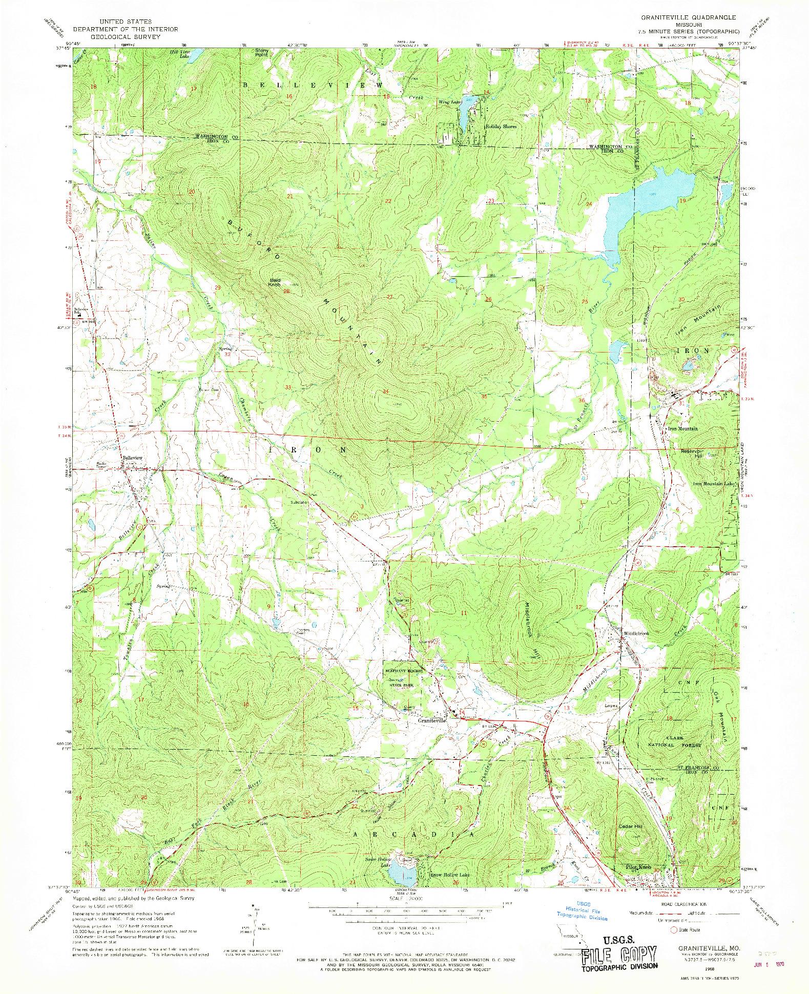 USGS 1:24000-SCALE QUADRANGLE FOR GRANITEVILLE, MO 1968