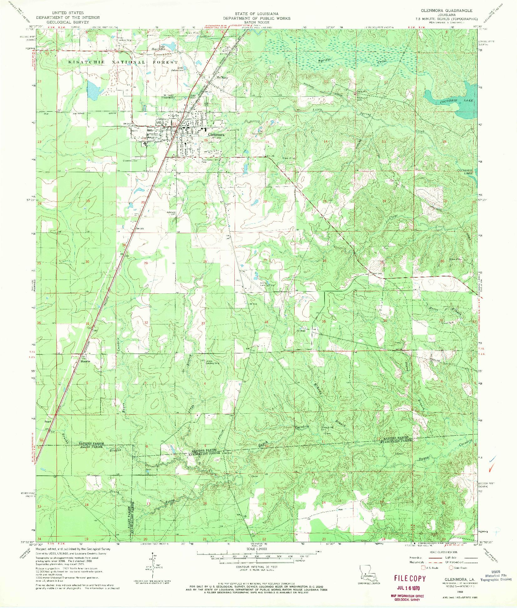 USGS 1:24000-SCALE QUADRANGLE FOR GLENMORA, LA 1968