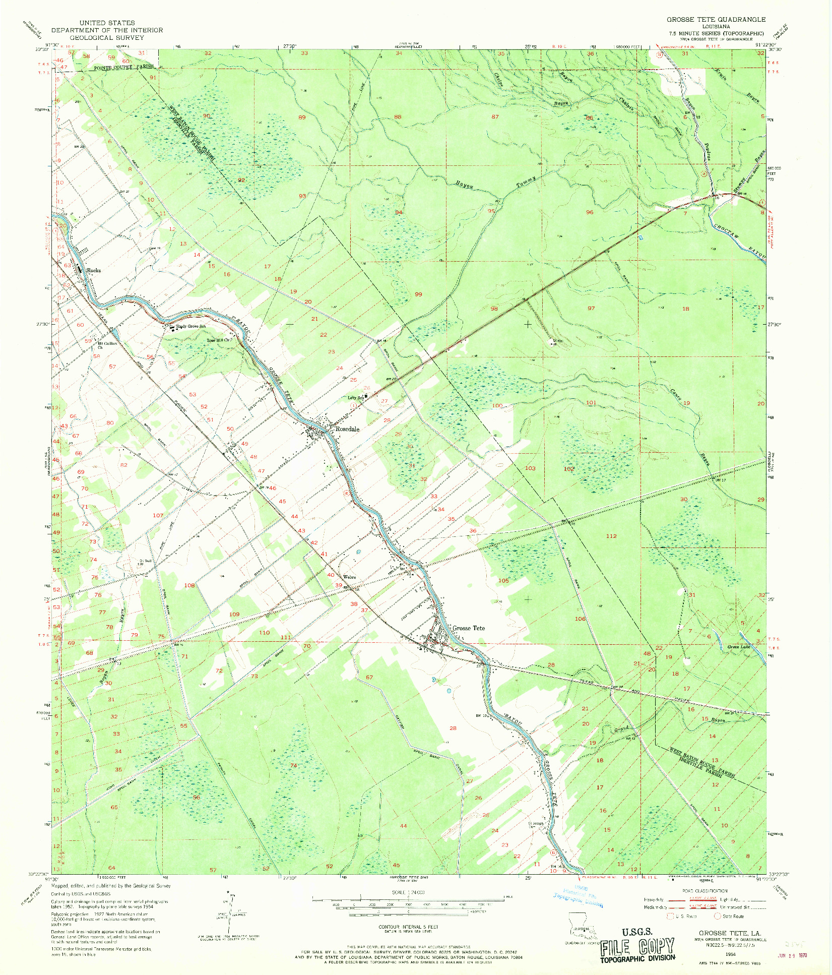USGS 1:24000-SCALE QUADRANGLE FOR GROSSE TETE, LA 1954