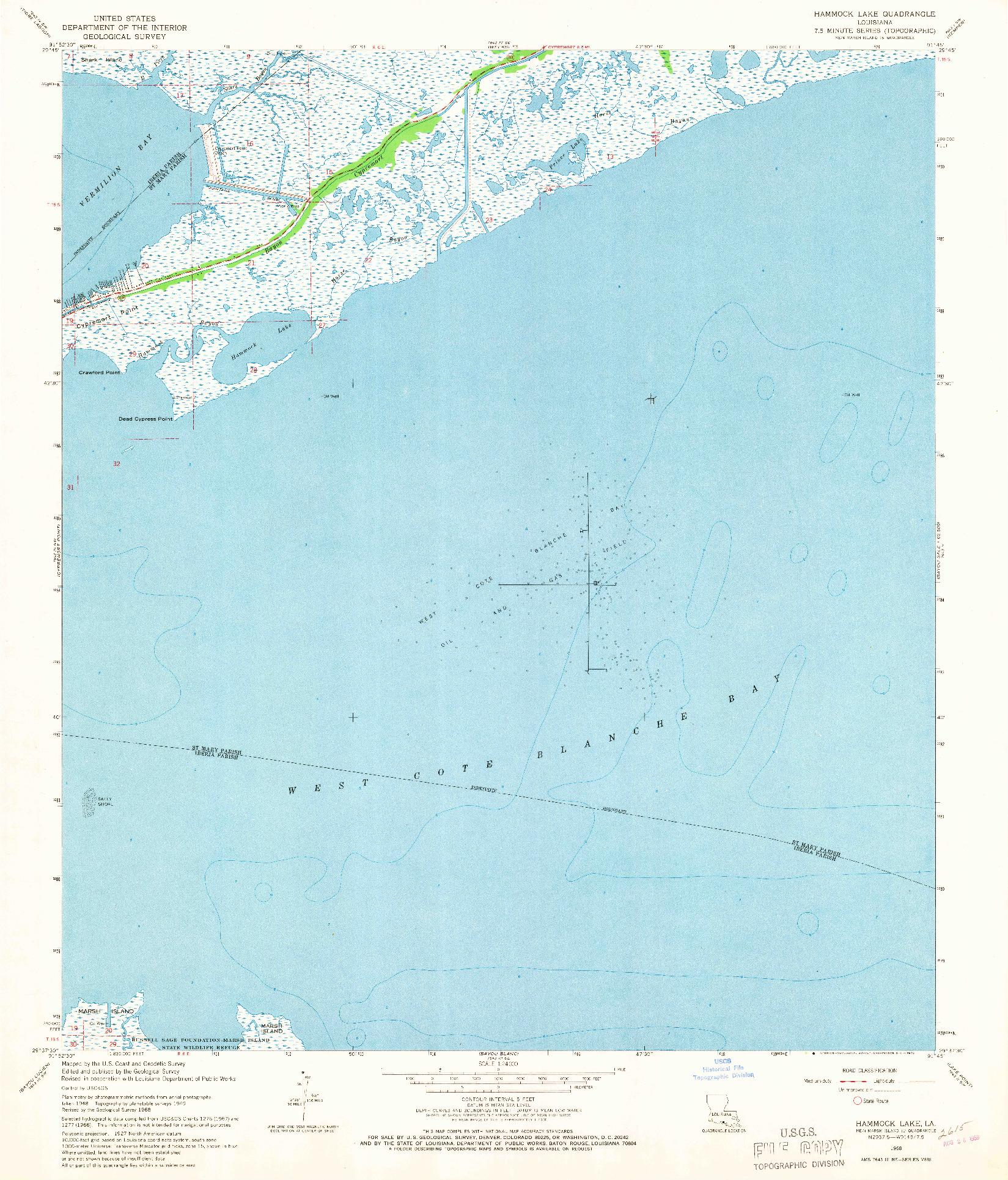 USGS 1:24000-SCALE QUADRANGLE FOR HAMMOCK LAKE, LA 1968