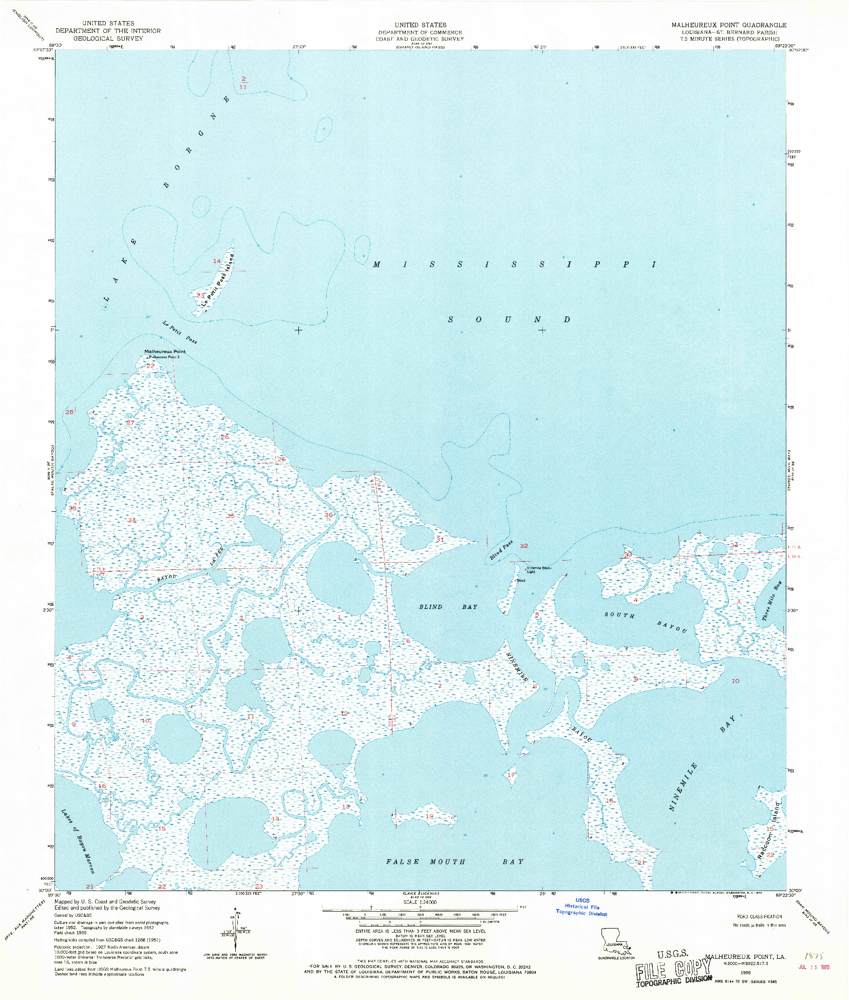 USGS 1:24000-SCALE QUADRANGLE FOR MALHEUREUX POINT, LA 1955