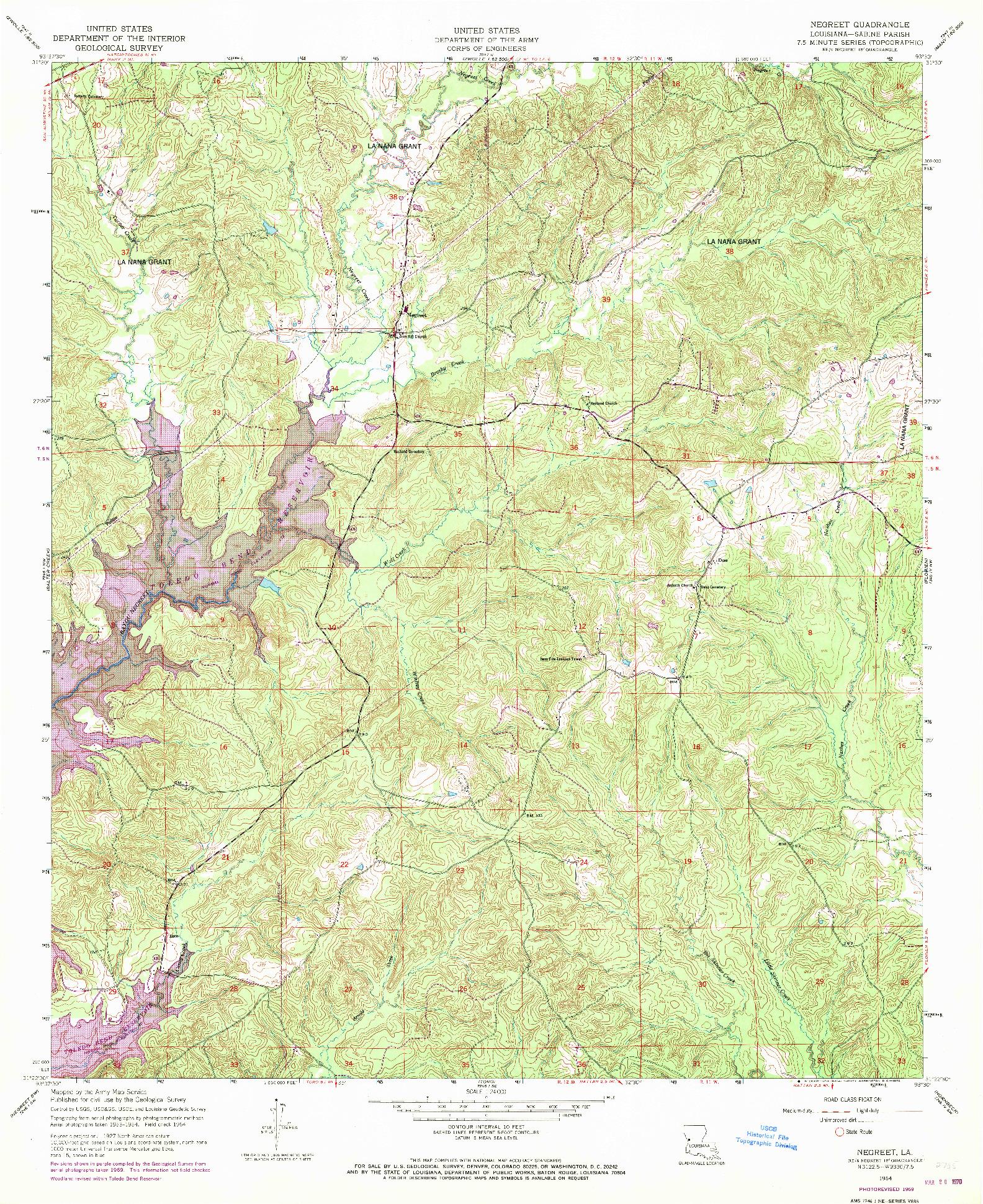 USGS 1:24000-SCALE QUADRANGLE FOR NEGREET, LA 1954