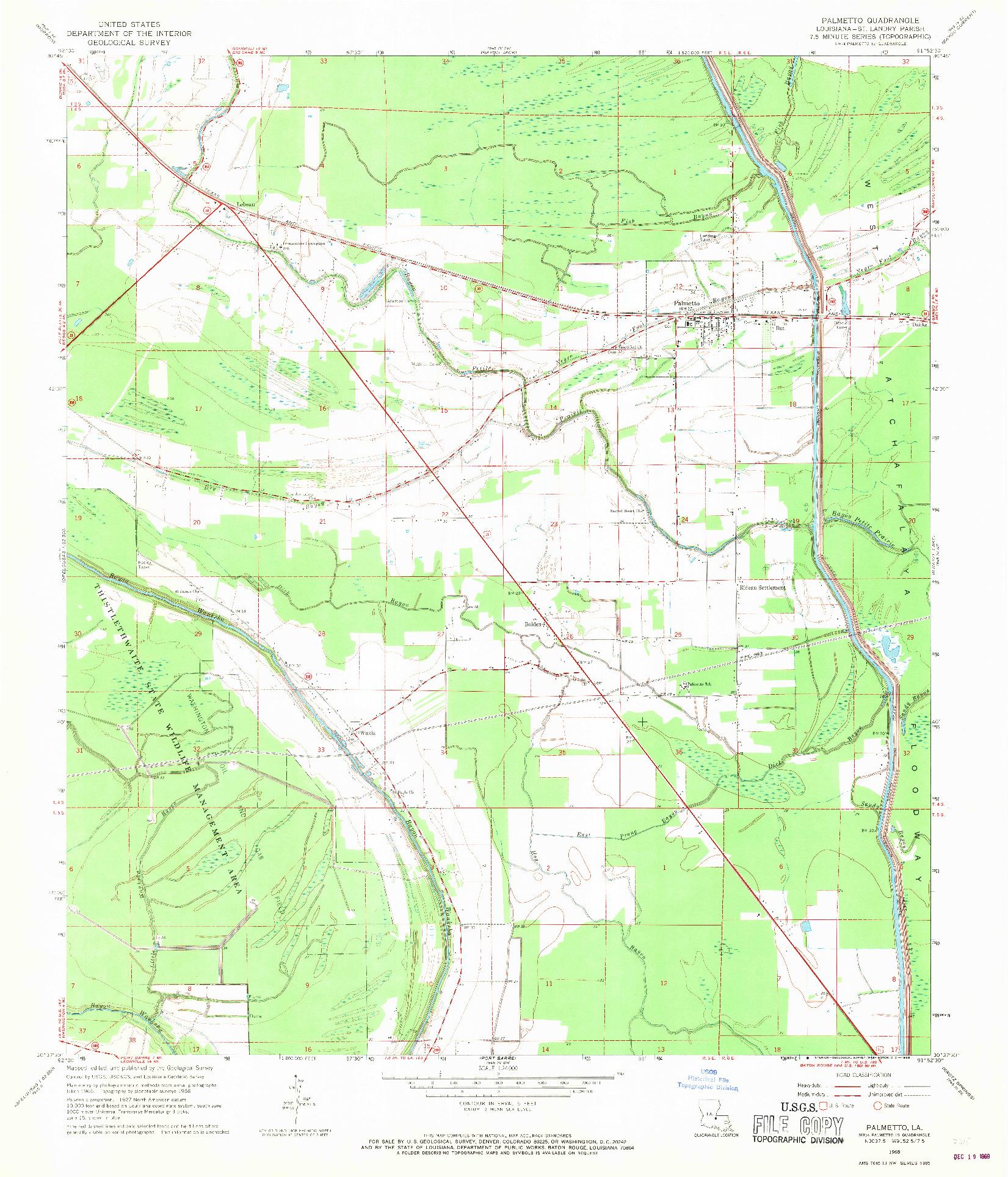 USGS 1:24000-SCALE QUADRANGLE FOR PALMETTO, LA 1968