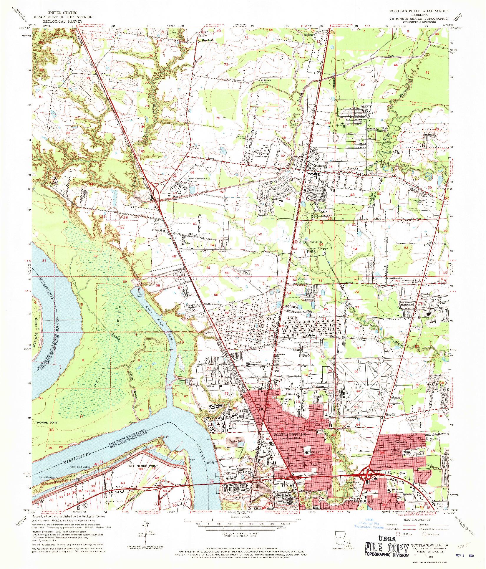 USGS 1:24000-SCALE QUADRANGLE FOR SCOTLANDVILLE, LA 1963