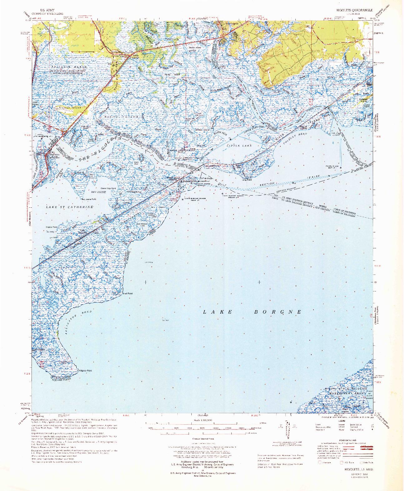 USGS 1:62500-SCALE QUADRANGLE FOR RIGOLETS, LA 1969