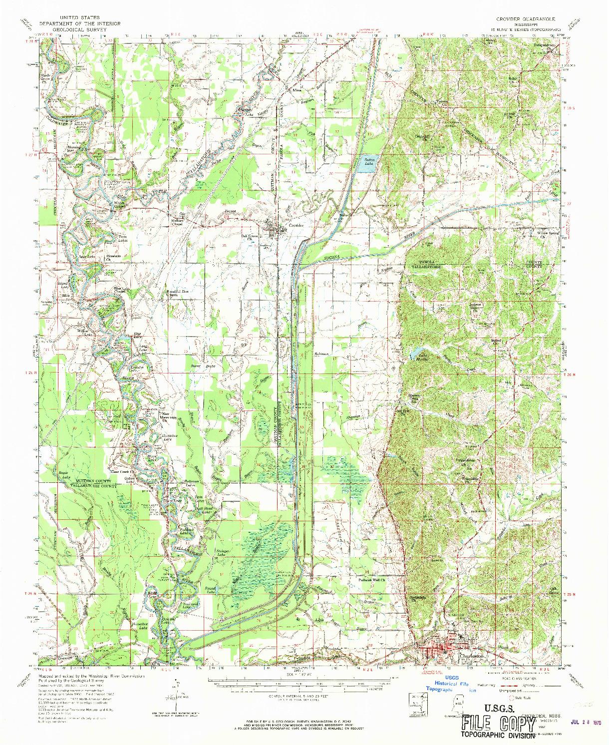 USGS 1:62500-SCALE QUADRANGLE FOR CROWDER, MS 1962