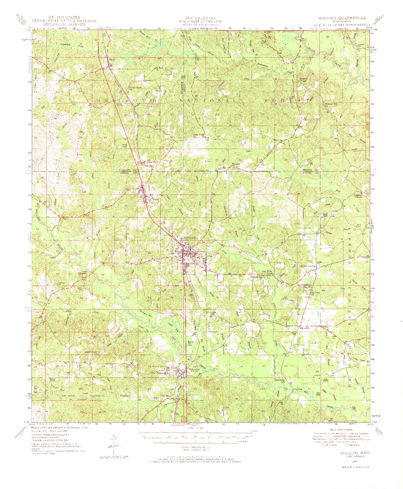 USGS 1:62500-SCALE QUADRANGLE FOR WIGGINS, MS 1947