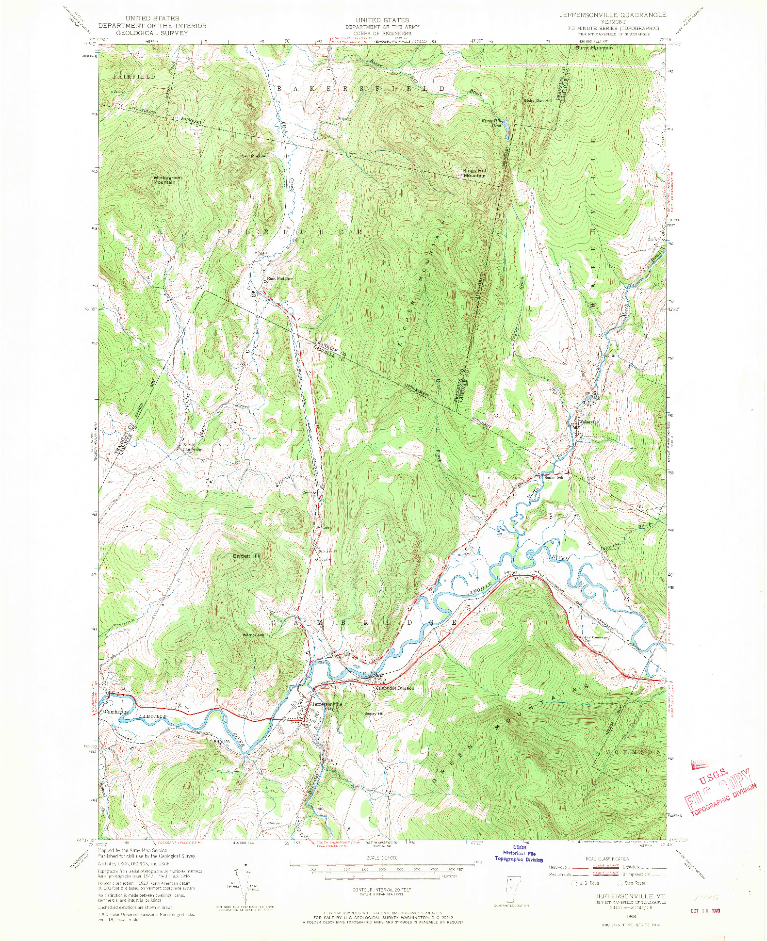 USGS 1:24000-SCALE QUADRANGLE FOR JEFFERSONVILLE, VT 1948