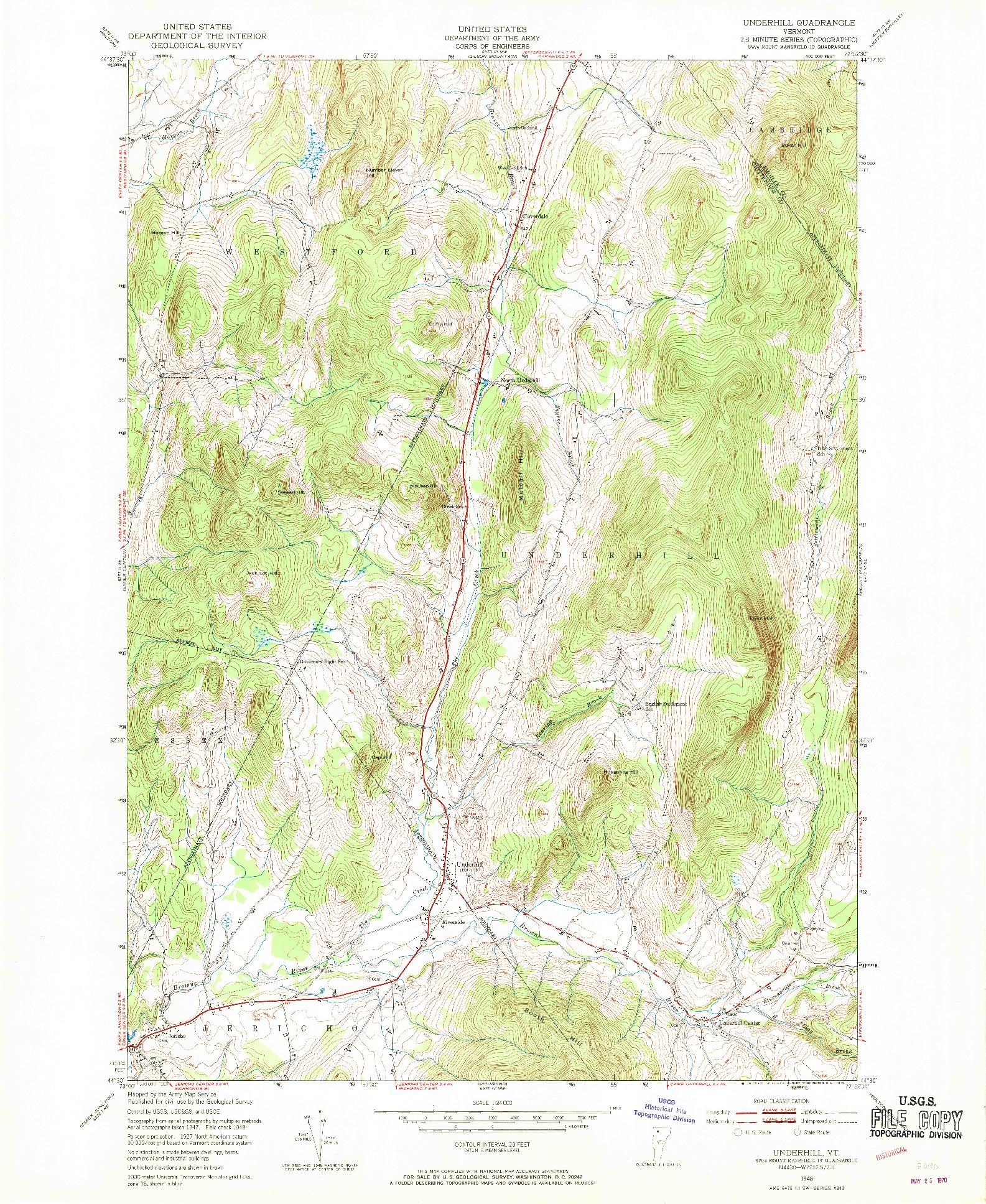 USGS 1:24000-SCALE QUADRANGLE FOR UNDERHILL, VT 1948