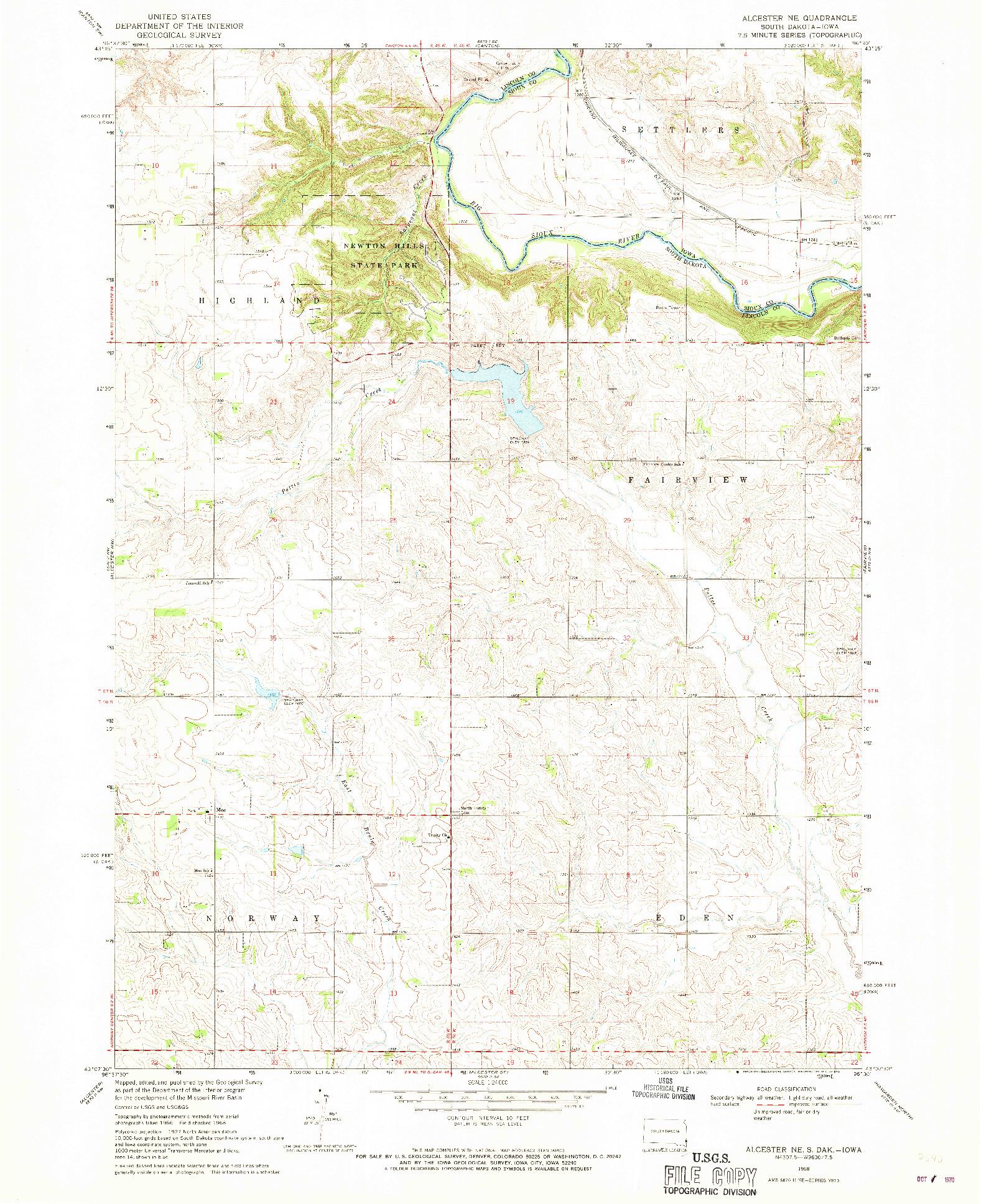 USGS 1:24000-SCALE QUADRANGLE FOR ALCESTER NE, SD 1968