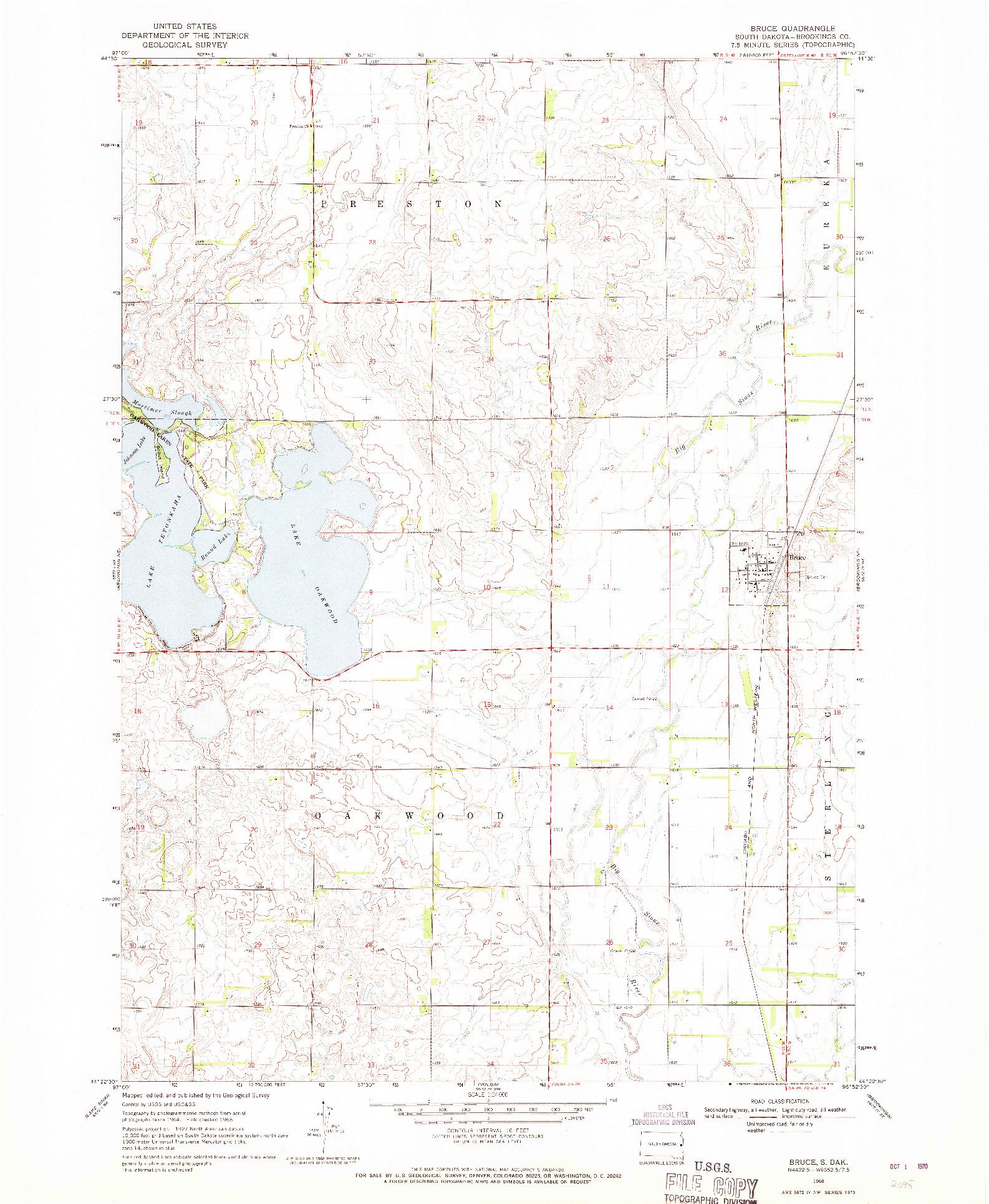 USGS 1:24000-SCALE QUADRANGLE FOR BRUCE, SD 1968