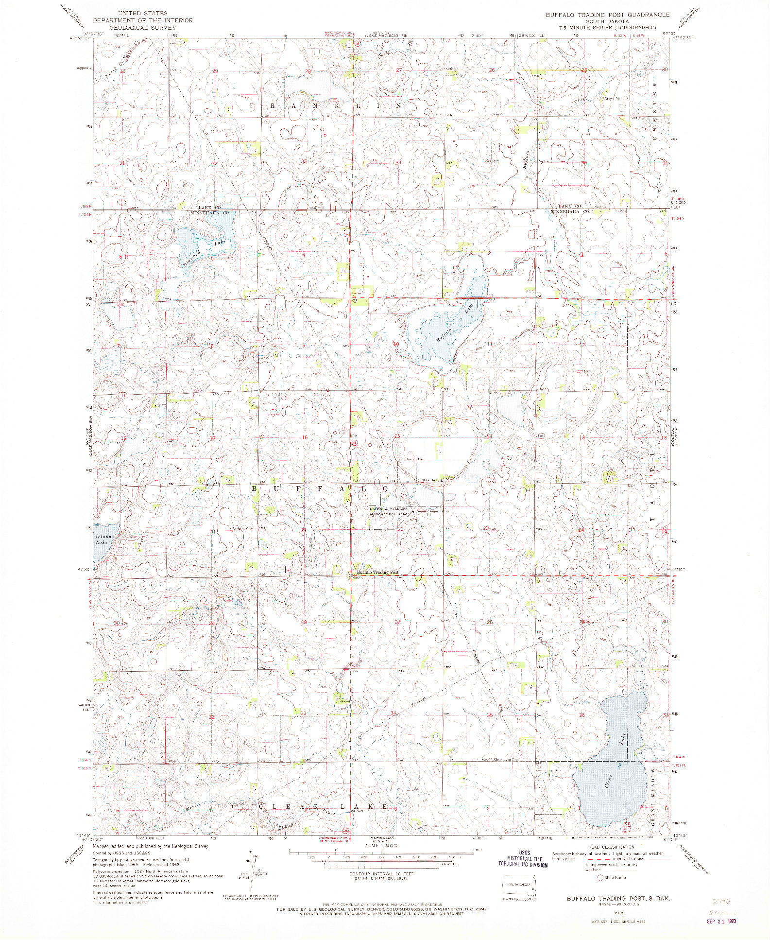 USGS 1:24000-SCALE QUADRANGLE FOR BUFFALO TRADING POST, SD 1968