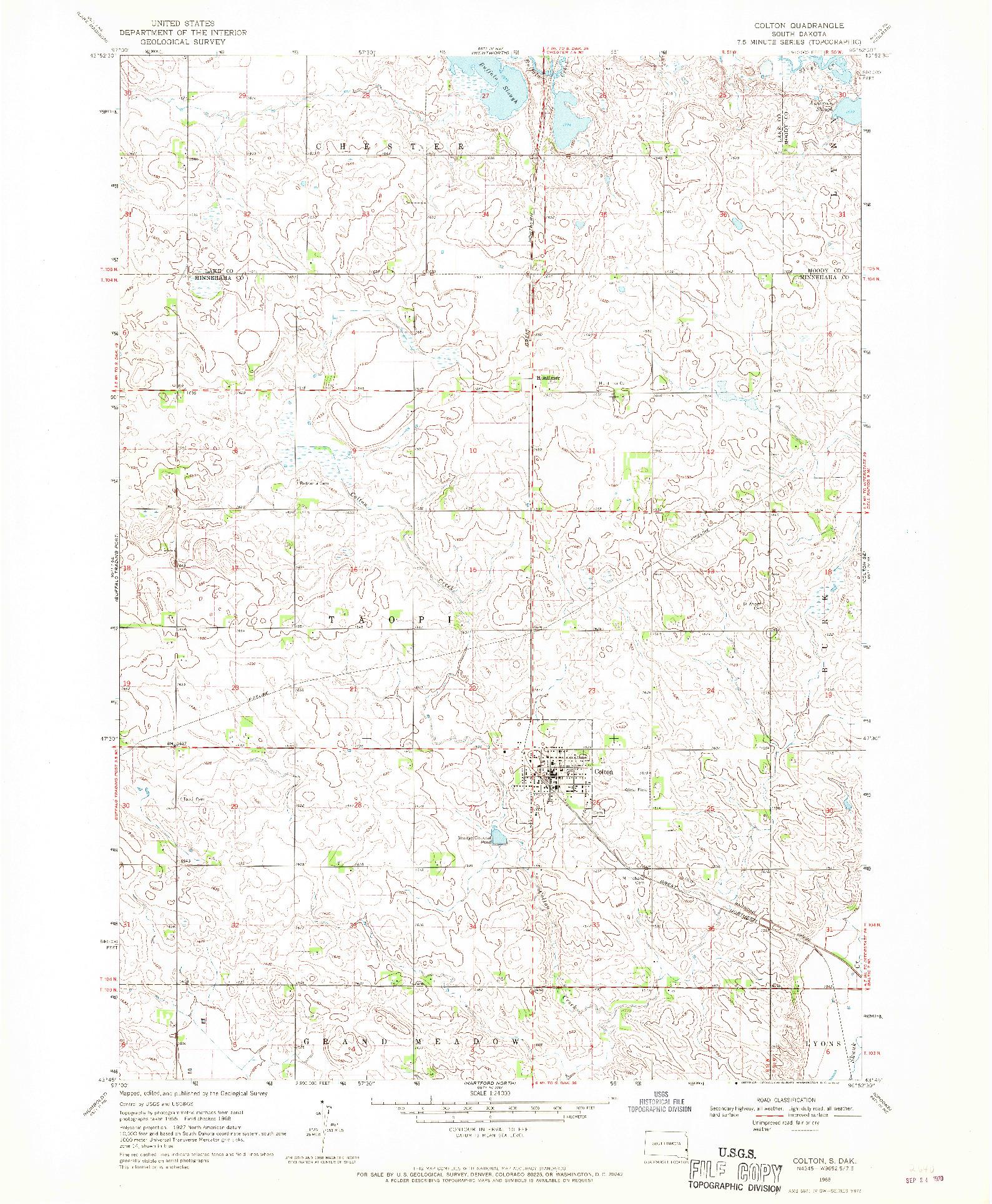 USGS 1:24000-SCALE QUADRANGLE FOR COLTON, SD 1968