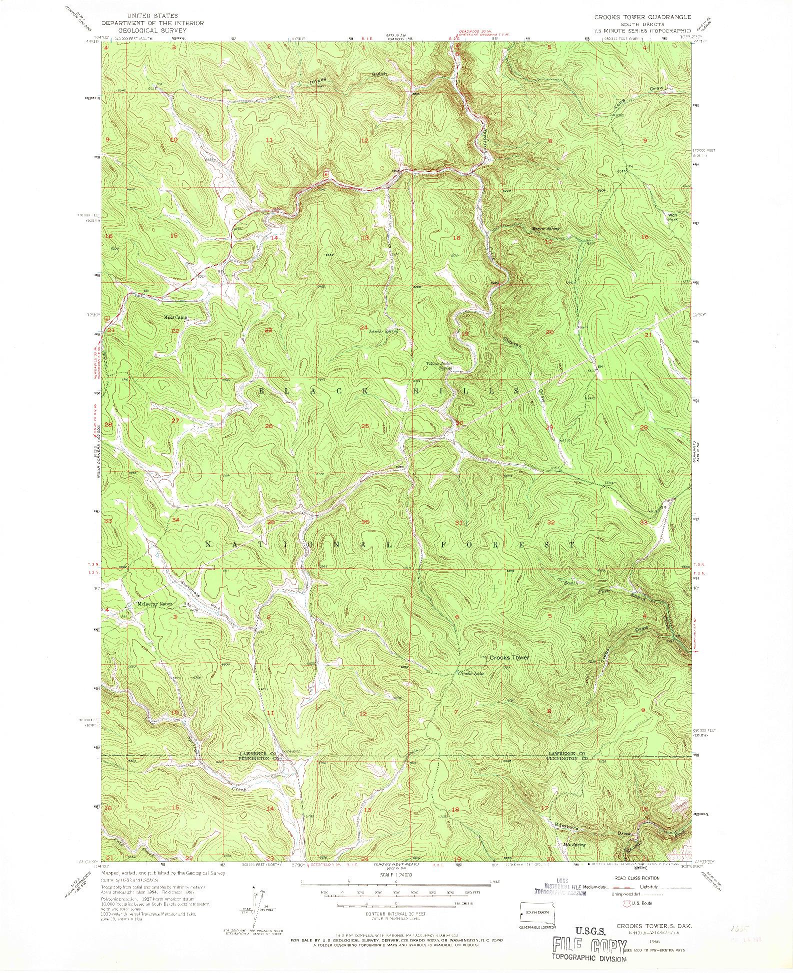 USGS 1:24000-SCALE QUADRANGLE FOR CROOKS TOWER, SD 1956
