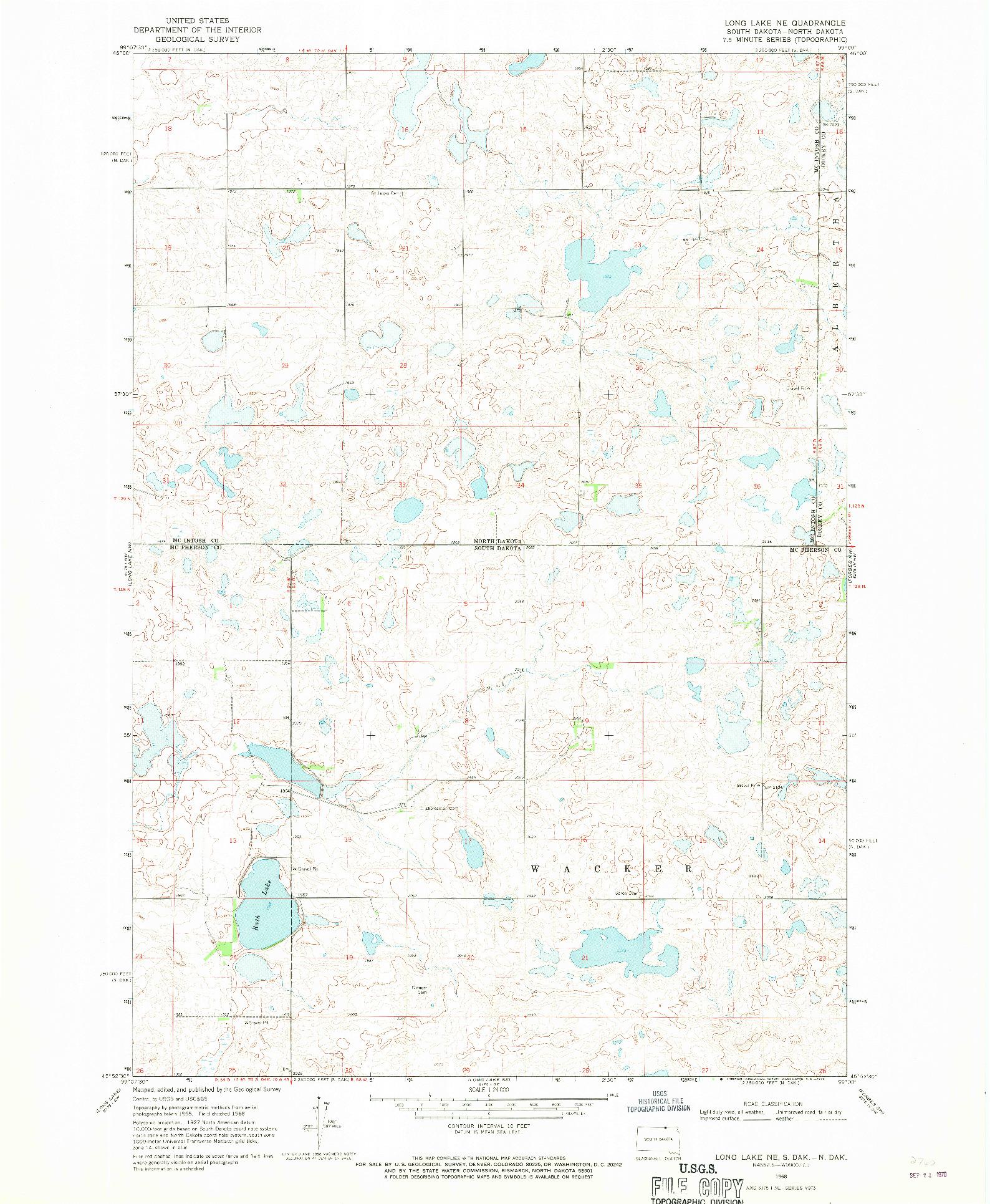USGS 1:24000-SCALE QUADRANGLE FOR LONG LAKE NE, SD 1968