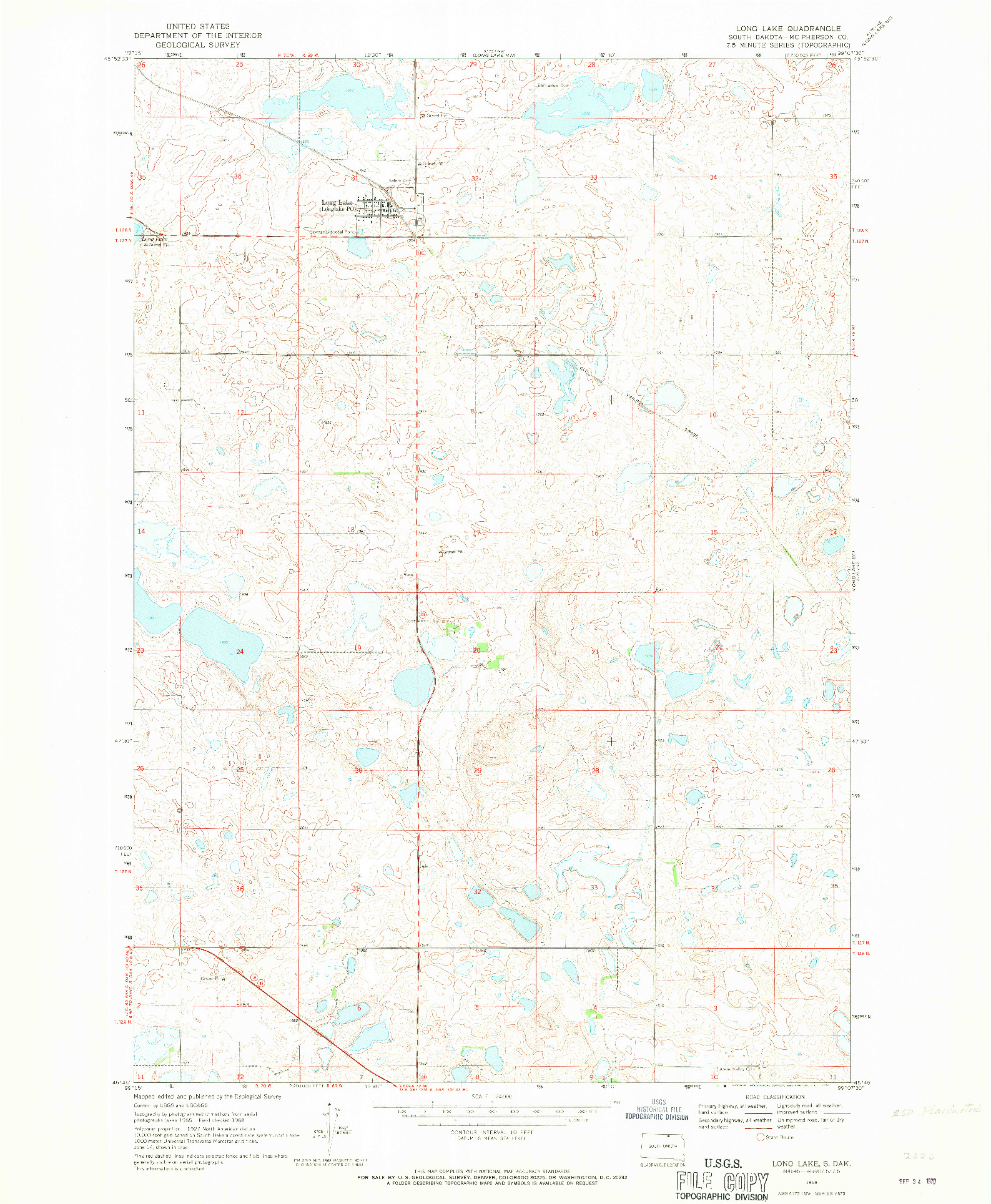 USGS 1:24000-SCALE QUADRANGLE FOR LONG LAKE, SD 1968