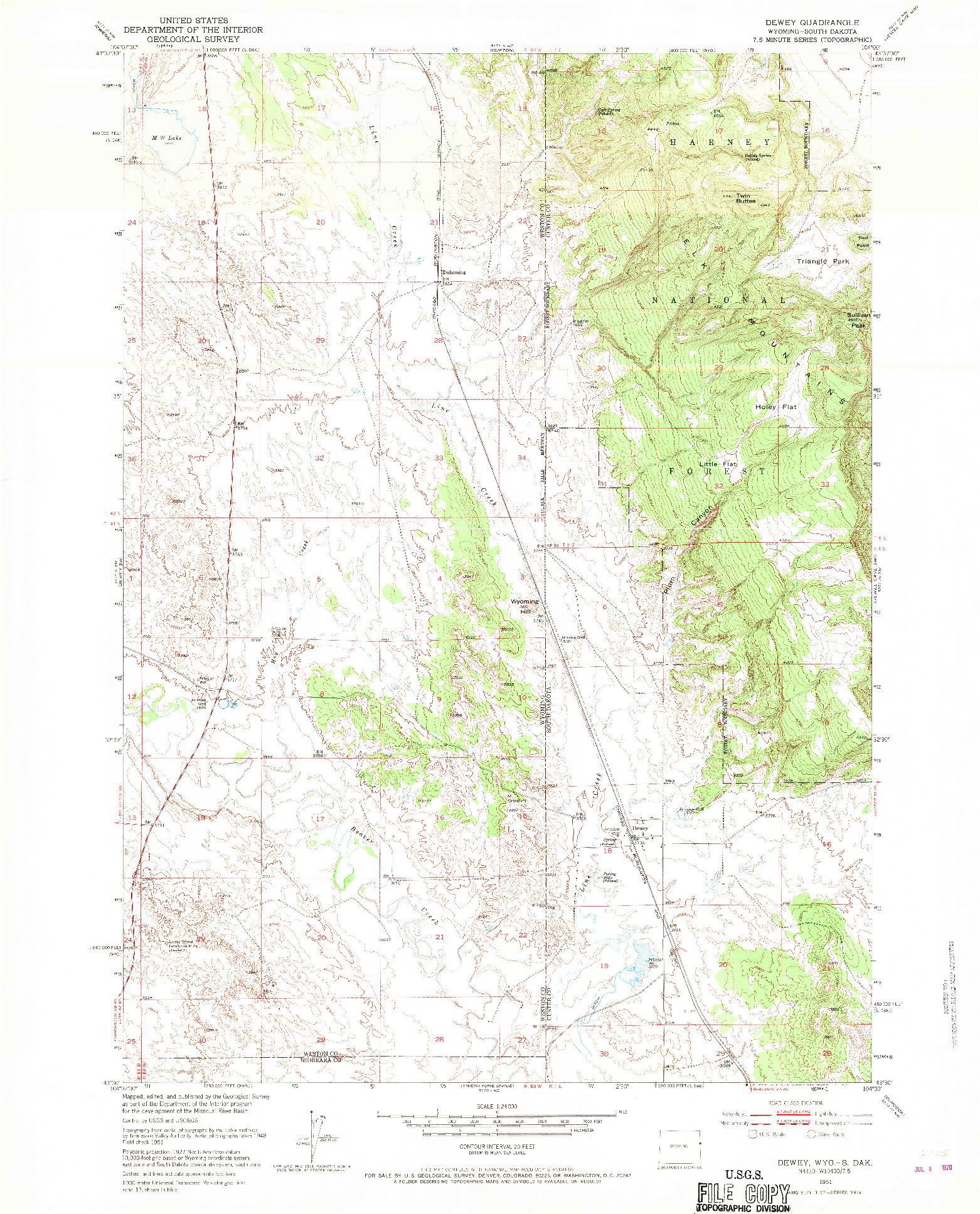 USGS 1:24000-SCALE QUADRANGLE FOR DEWEY, WY 1951