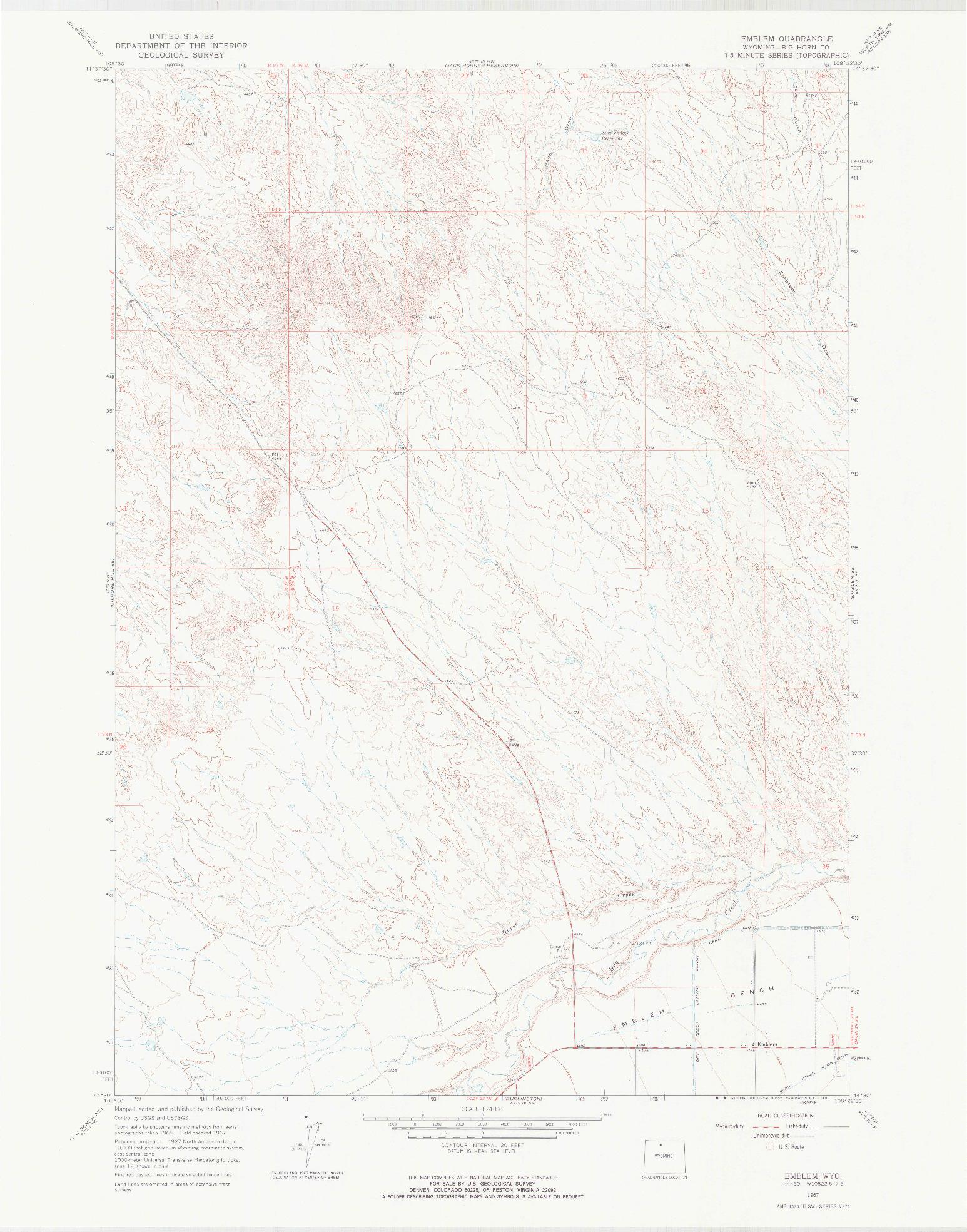 USGS 1:24000-SCALE QUADRANGLE FOR EMBLEM, WY 1967