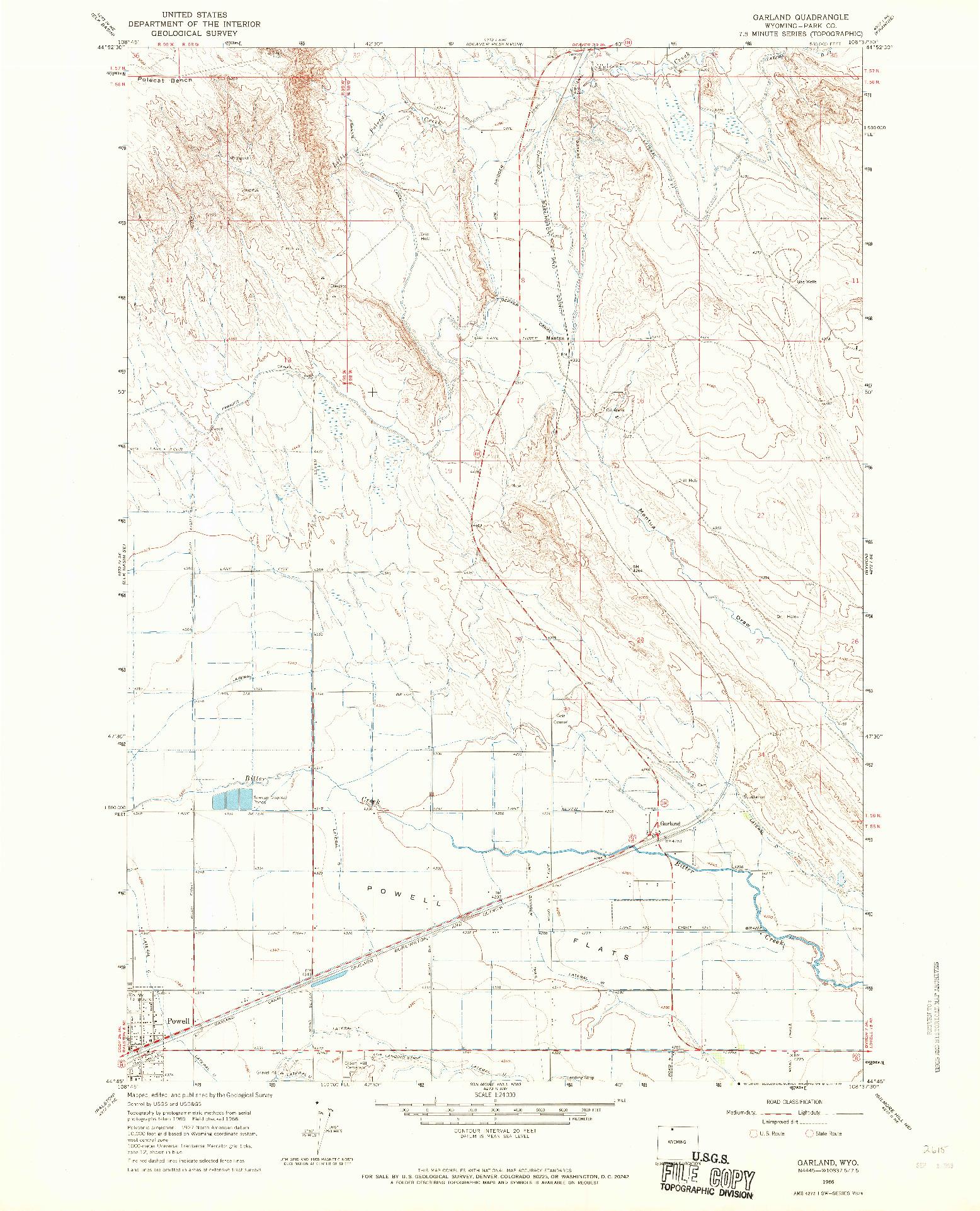 USGS 1:24000-SCALE QUADRANGLE FOR GARLAND, WY 1966
