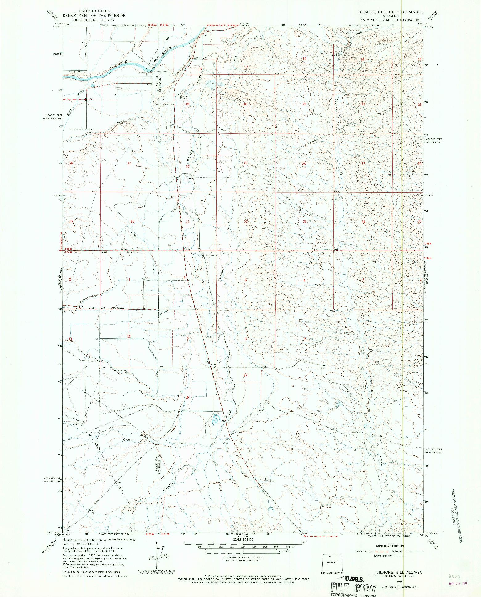USGS 1:24000-SCALE QUADRANGLE FOR GILMORE HILL NE, WY 1966